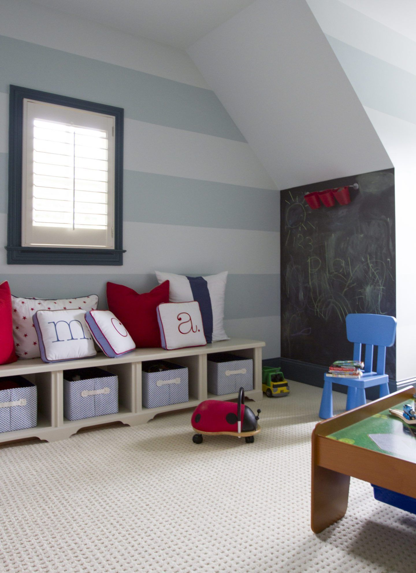 Kids Playroom With Cabana Stripes And Chalkboard Wall With Red Blue