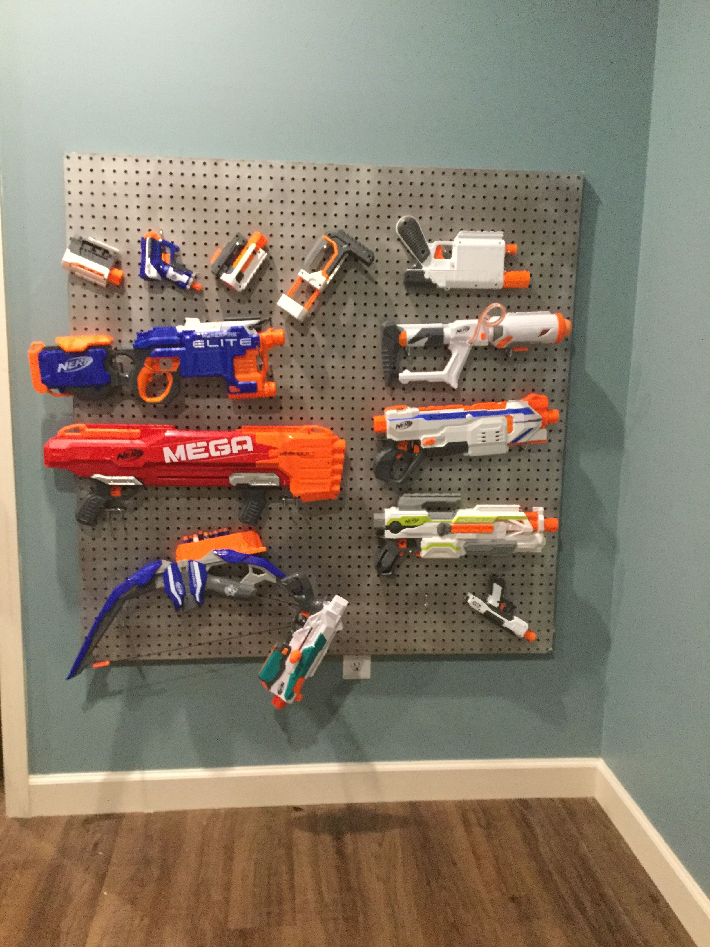 Nerf Gun Peg Board In Our New Playroom Spray Painted A Peg Board