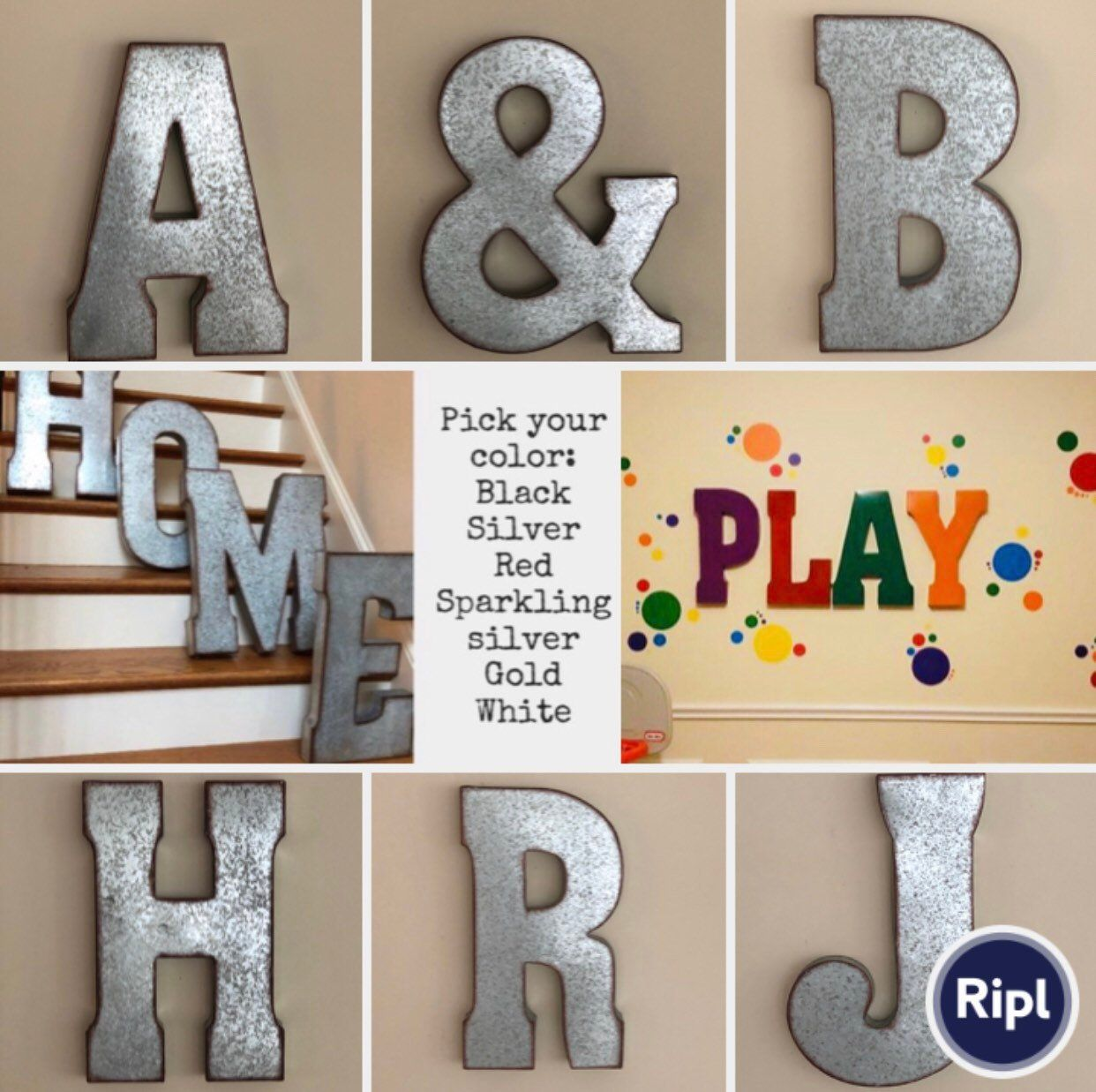 Extra Large Metal Letters/galvanized Letters//playroom Letters