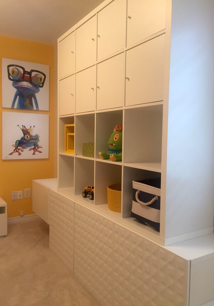 Playroom | Kids Play Area White Ikea Cabinets For Storage With Blue