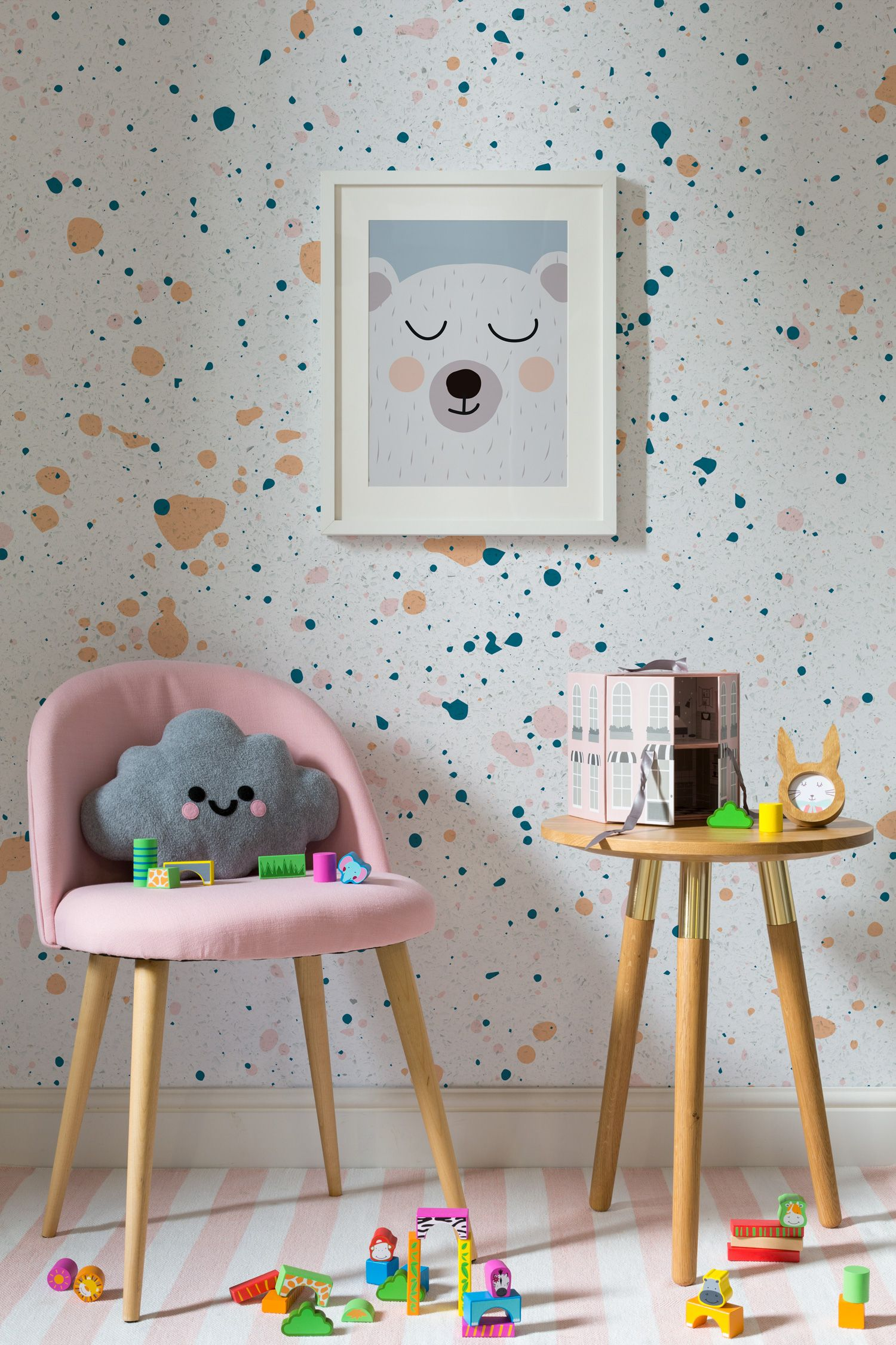 Peach And Teal Speckle Wall Mural | Childrens Room | Playroom Mural