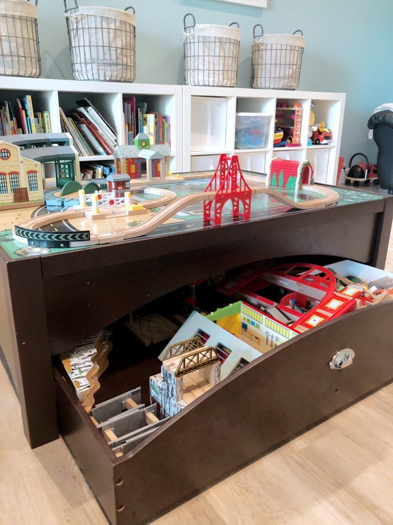 Train Table With Storage Drawer Perfect For An Organized Playroom