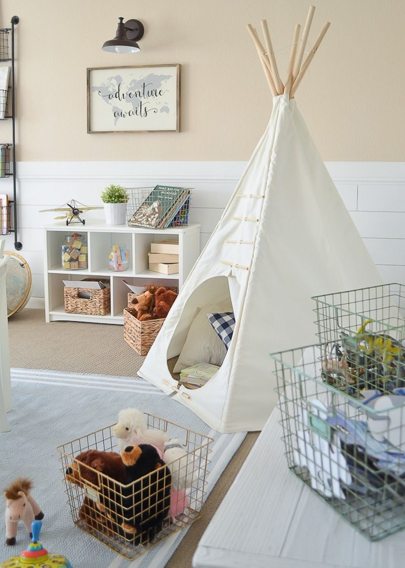 Little Vintage Farmhouse | Modern Farmhouse Playroom Makeover | Den