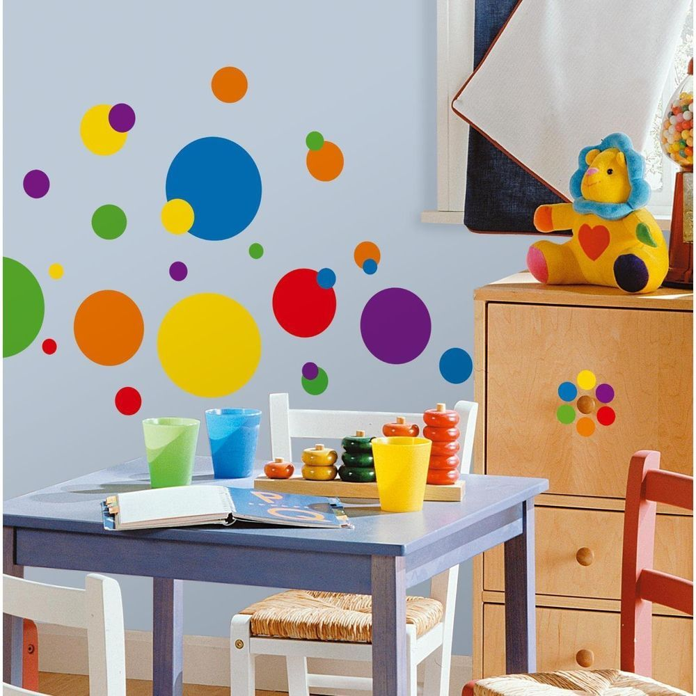 Just Dots Primary Colors Peel & Stick Wall Decals Playroom Kids Room
