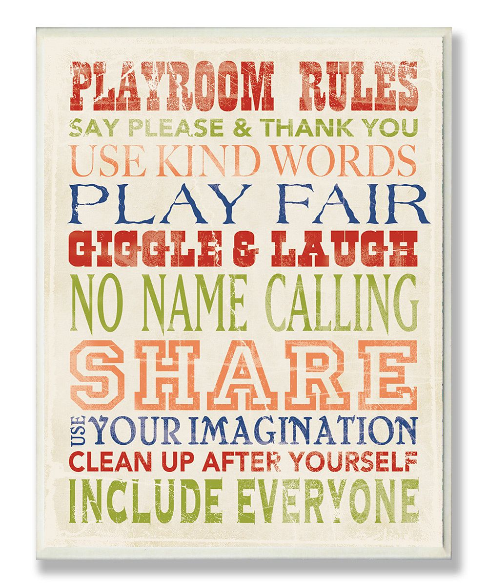 Playroom Rules' #typography Wall #art #zulily | Design Inspiration