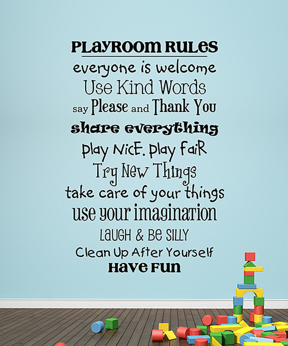 Look At This #zulilyfind! 'playroom Rules' Wall Quotes� Decal By