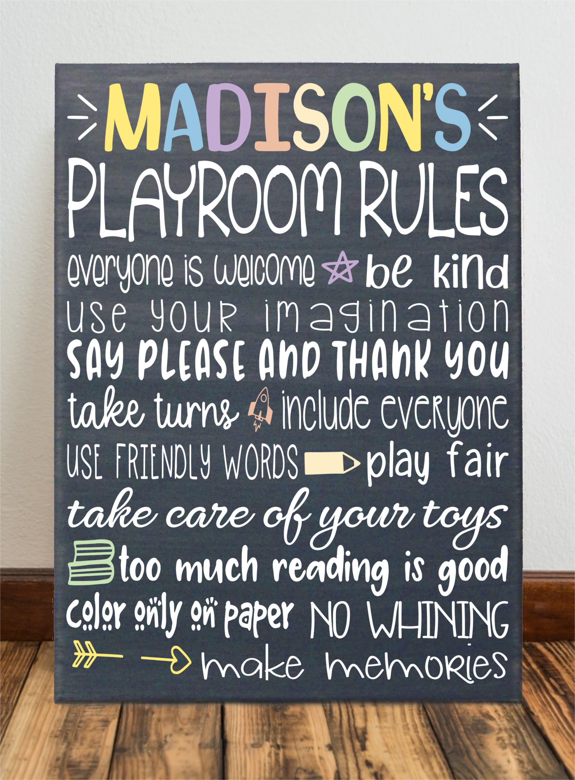 Personalized Playroom Rules Canvas Wall Decor Canvas In 2019