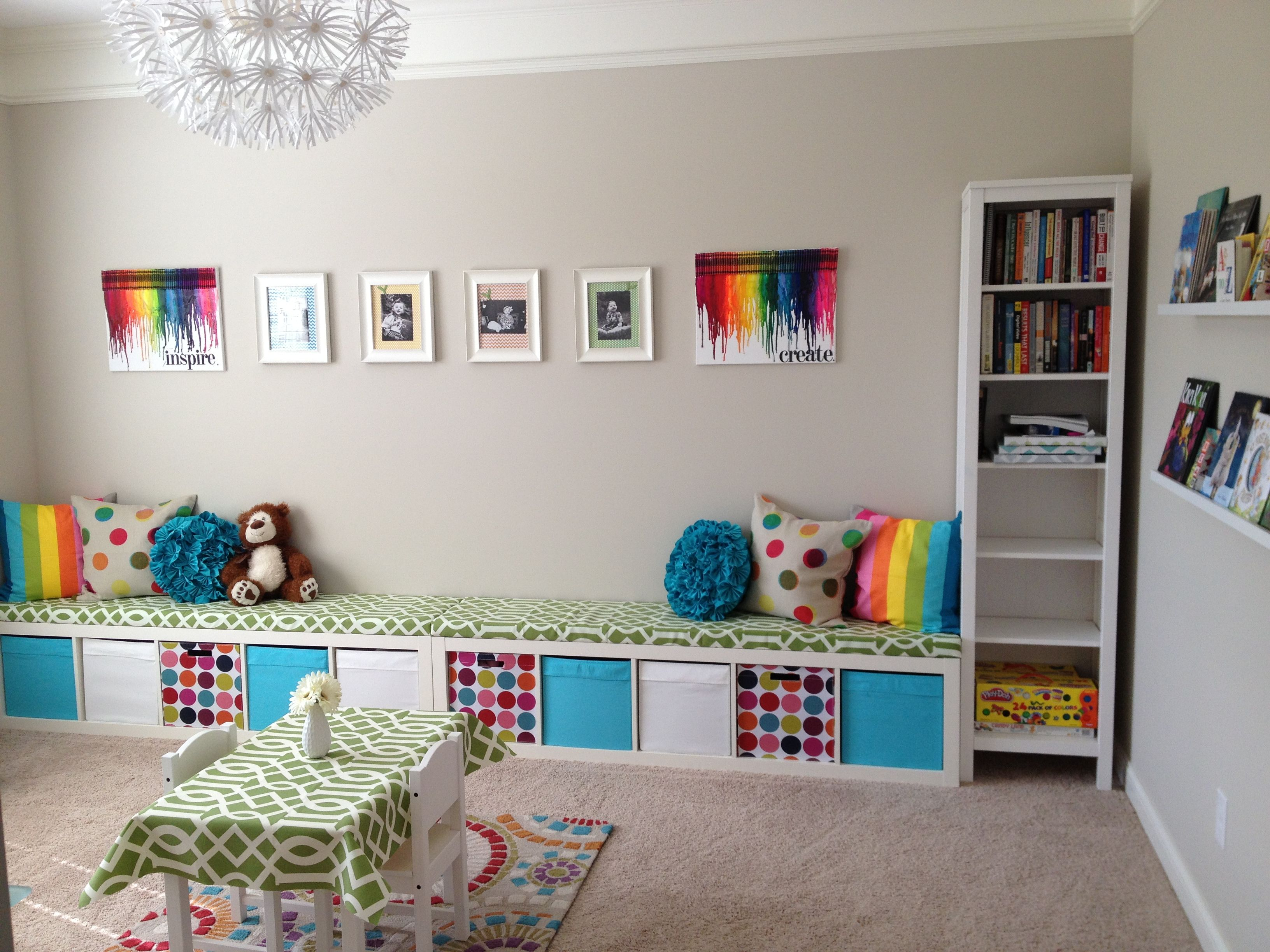 Ikea Expedit Playroom Storage Bench Two Together To Go Down The