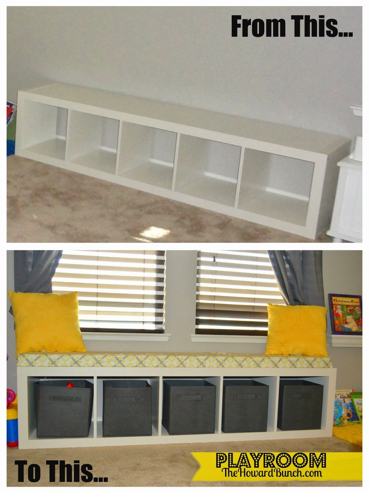 A Playful Yellow And Gray Playroom Bench Seating | So Sharp Ideas