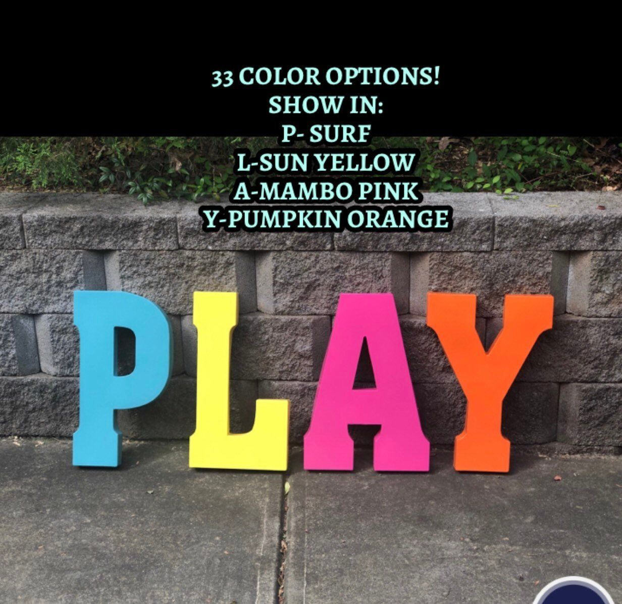 Extra Large Metal Letters/pick Color/word Play/playroom Letters