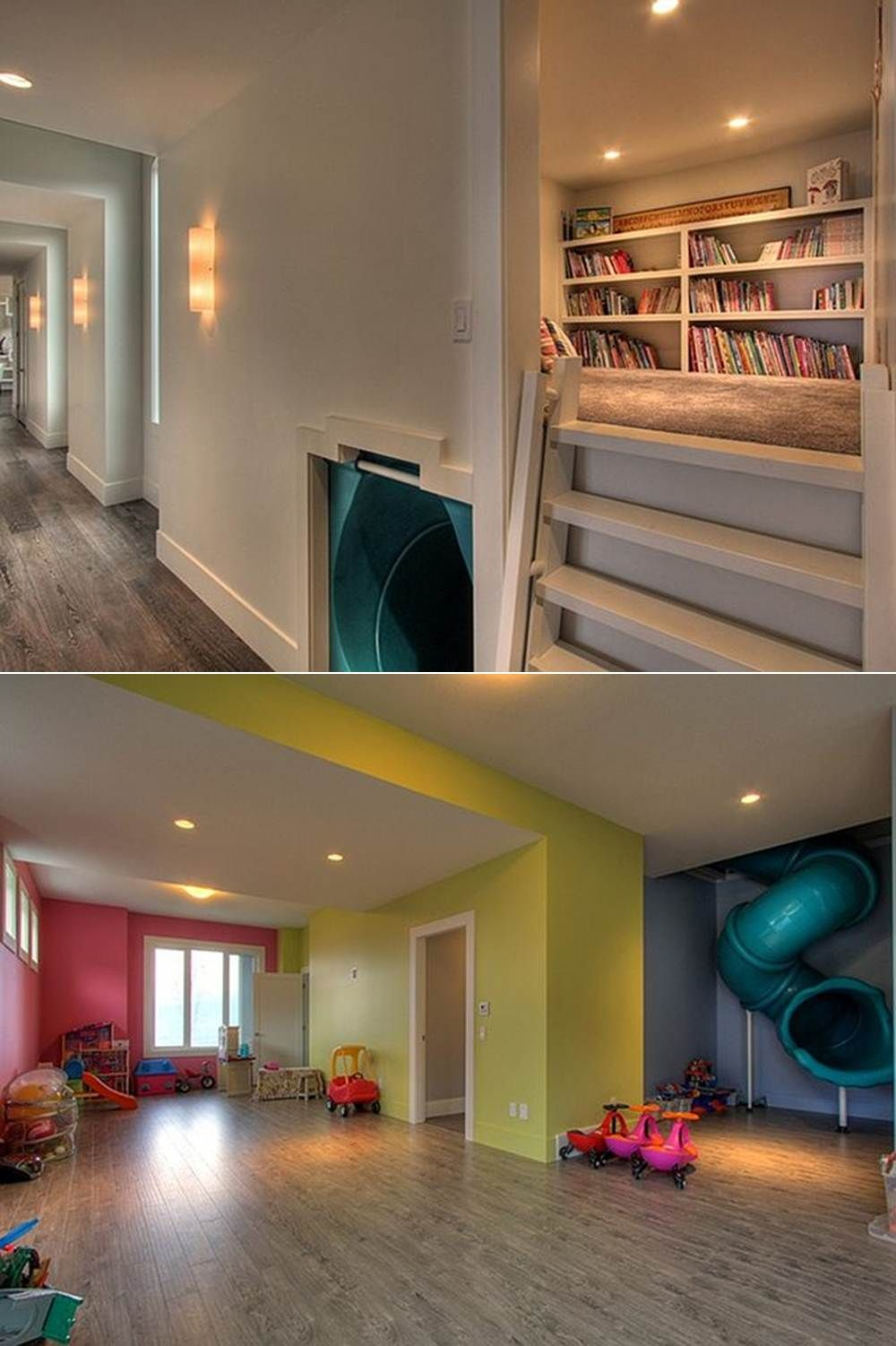 ��love�� Reading Nook With Slide That Goes Down To The Playroom
