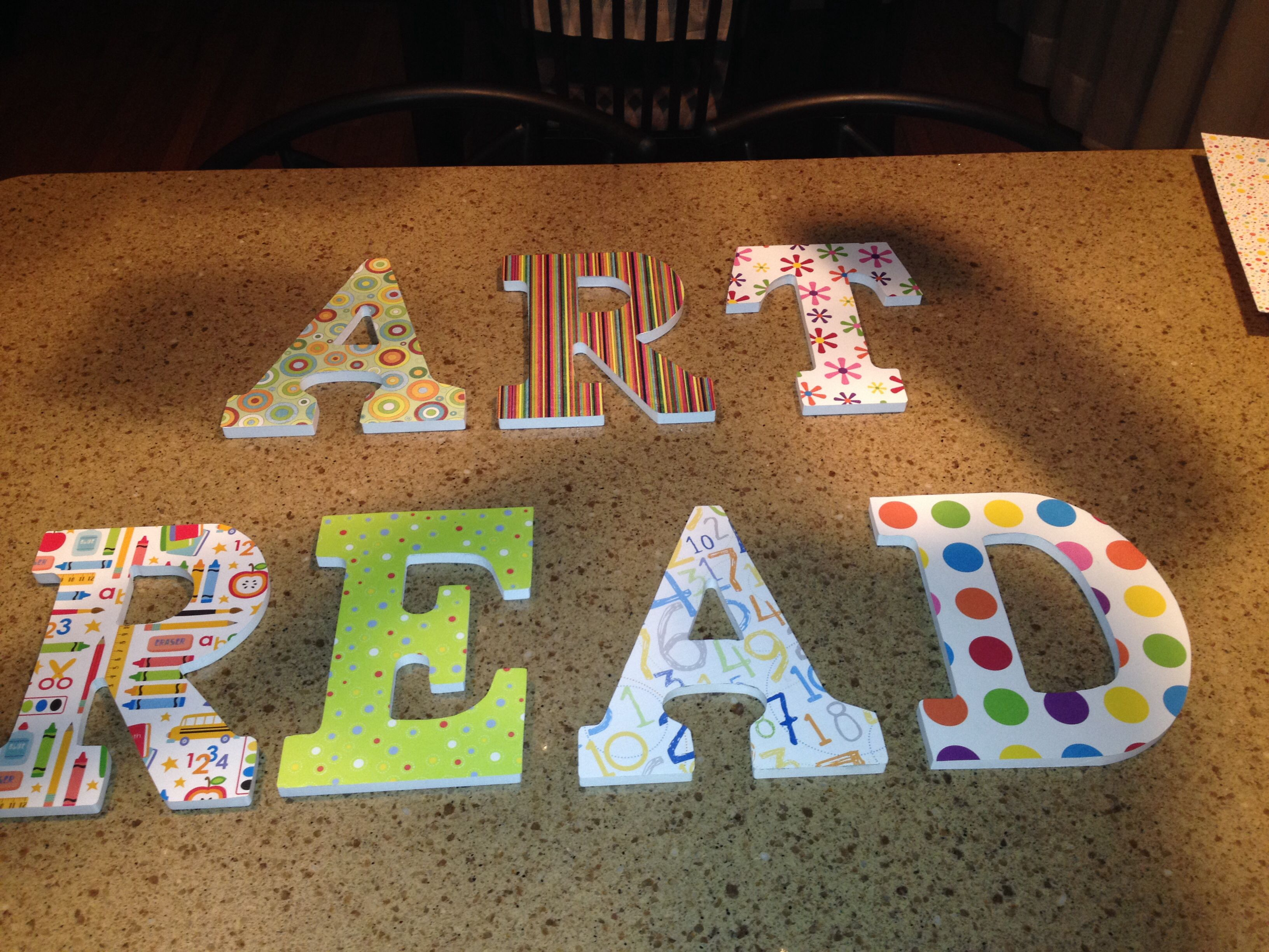 My Scrapbook Covered Wooden Letters For Evan And Sophia's Playroom