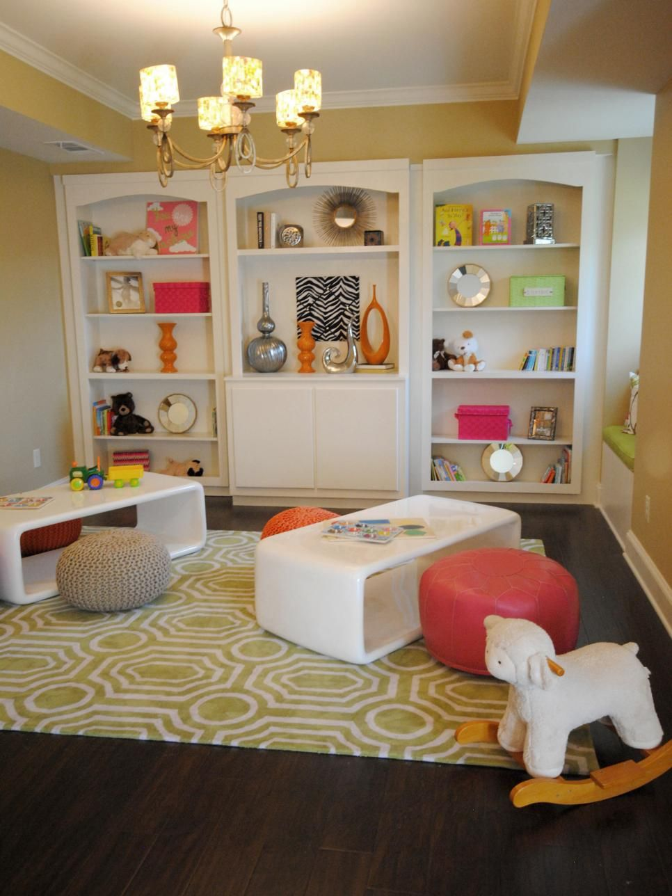Eclectic Yellow Playroom With Built-in Bookshelves   Main Floor