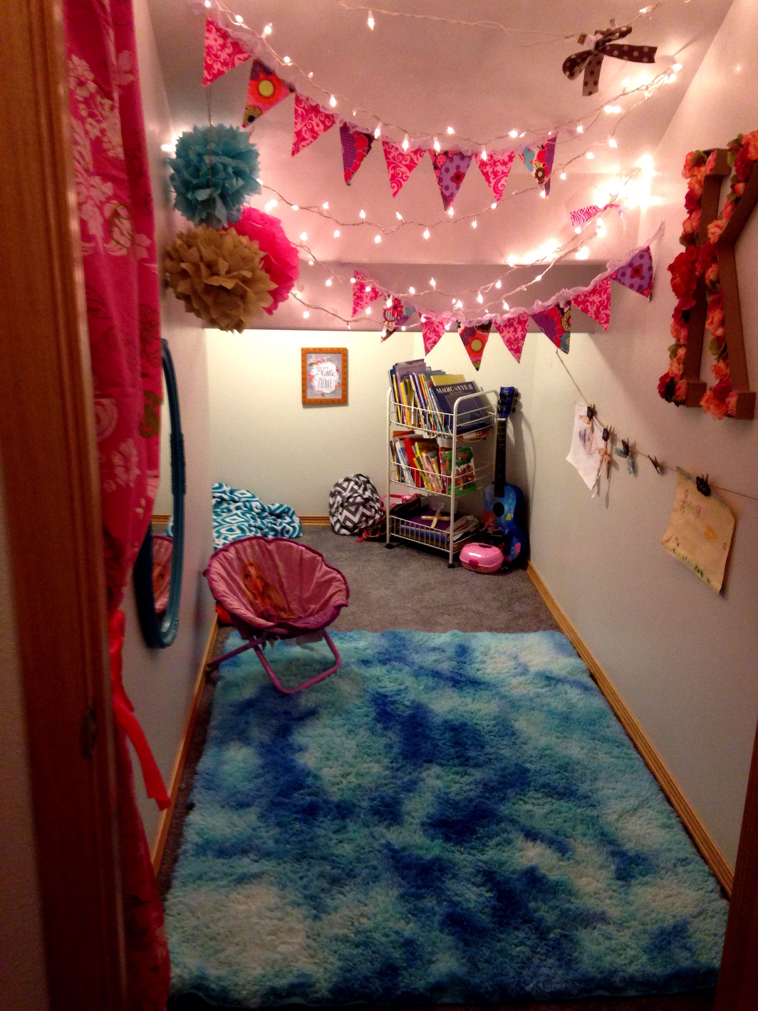 Under The Stairs Playroom For A Little Girl Features And Over Dyed