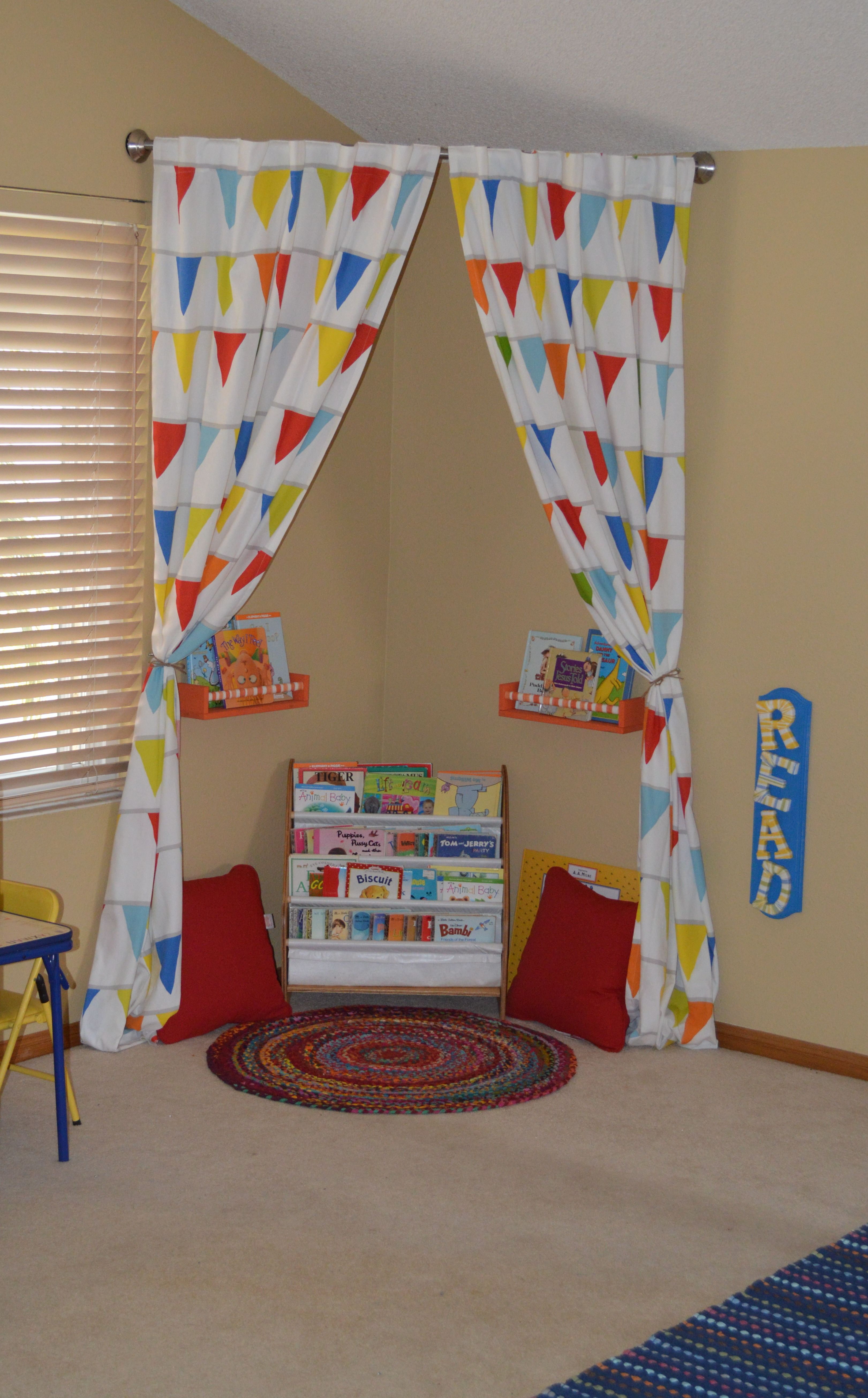 Great Idea For Reading Area In Child's Playroom - Just Hang Curtain