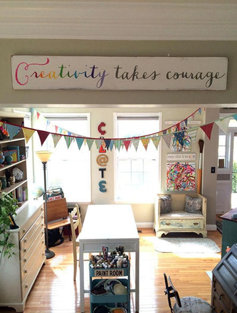 Creativity Takes Courage | Art Room Decorating | Playroom, Space