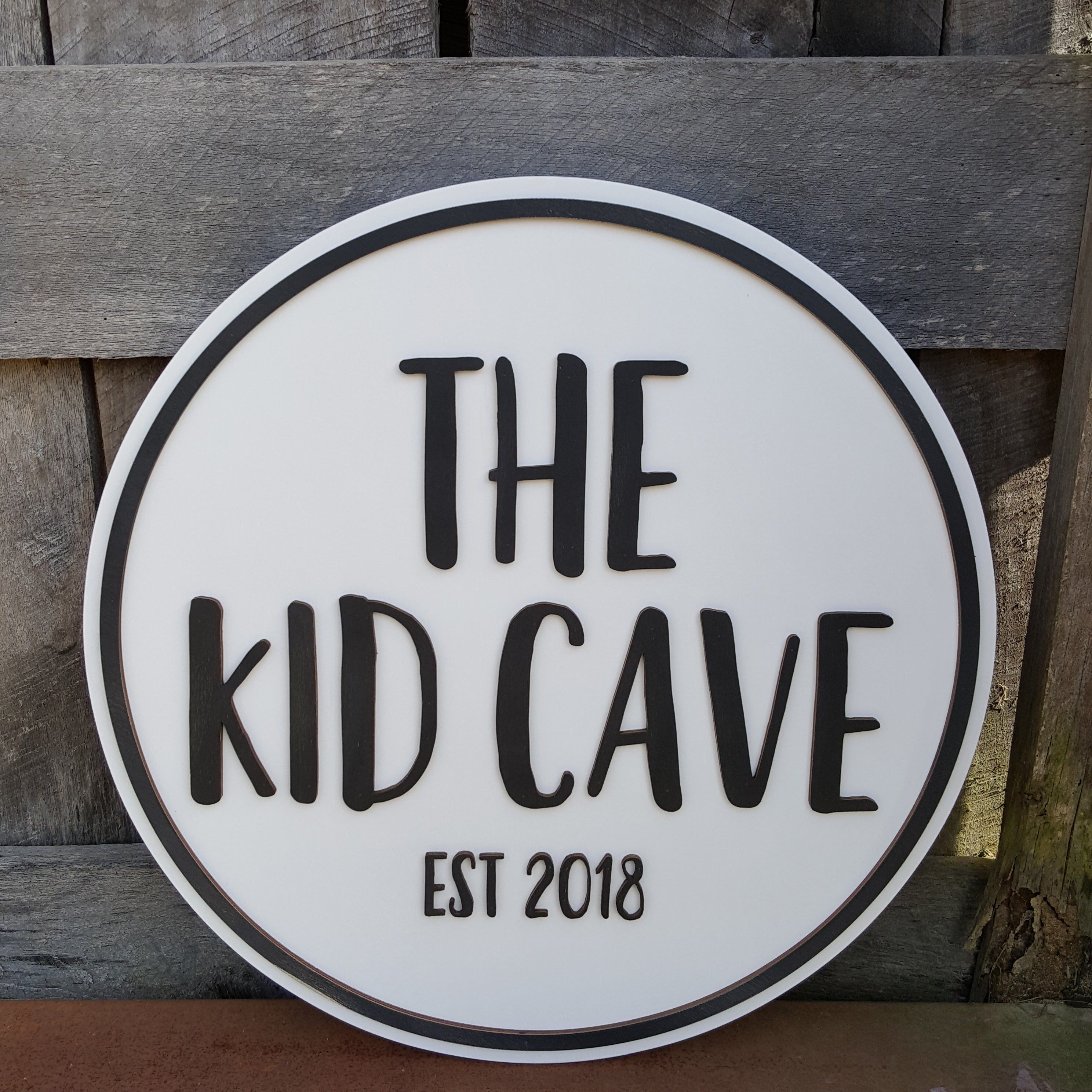 The Kid Cave Wall Hanging - Playroom Decor - Wooden Name Round