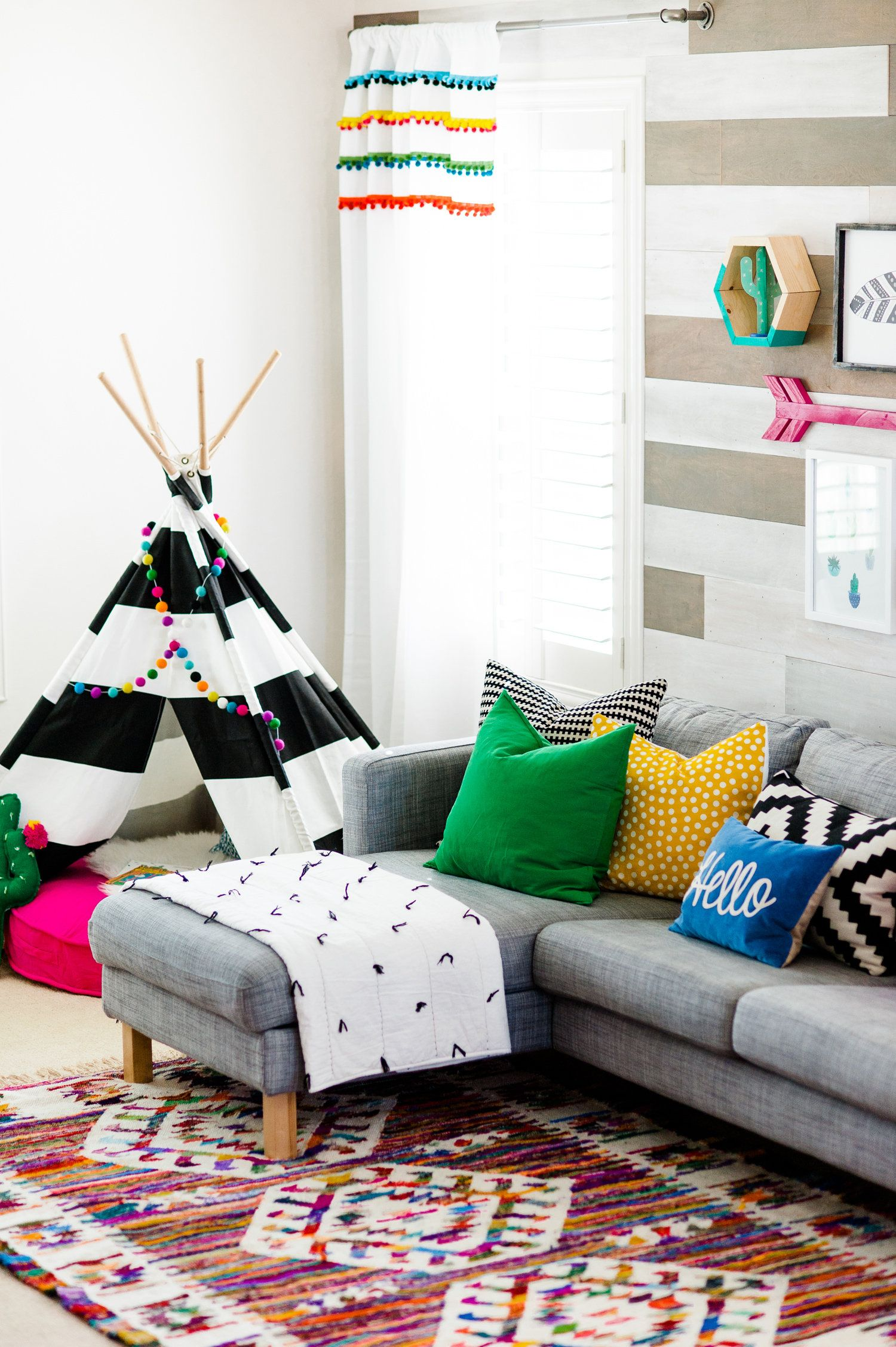 Colorful Playroom Design With The Land Of Nod   Playroom Tv Room
