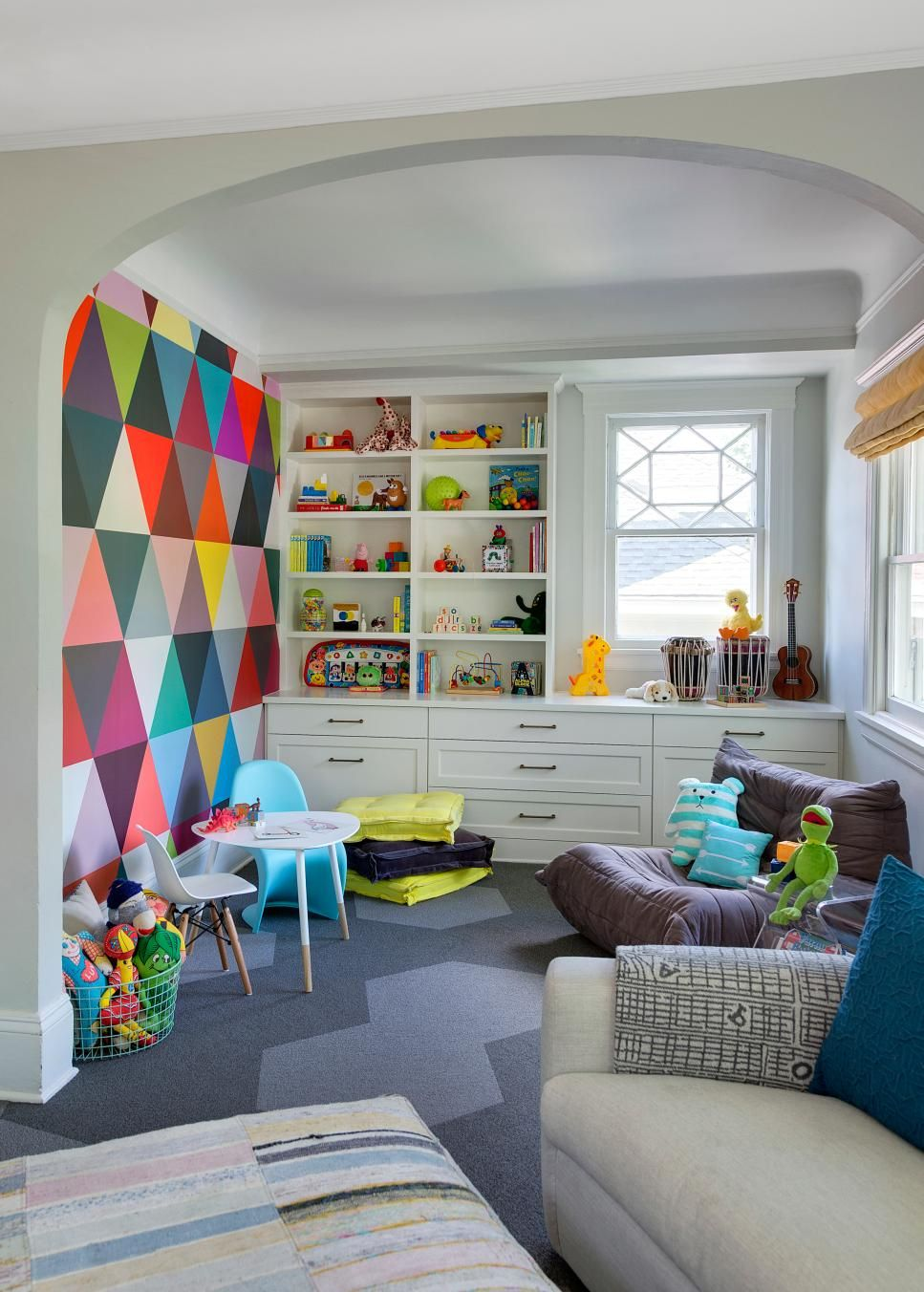 Multicolored Contemporary Playroom With Mural | Reading Nook Ideas