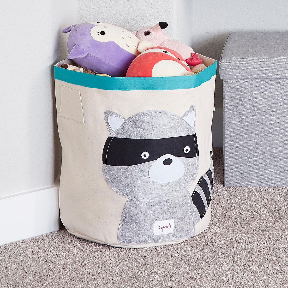 3 Sprouts Raccoon Canvas Toy Storage Bin | Playroom | Toy