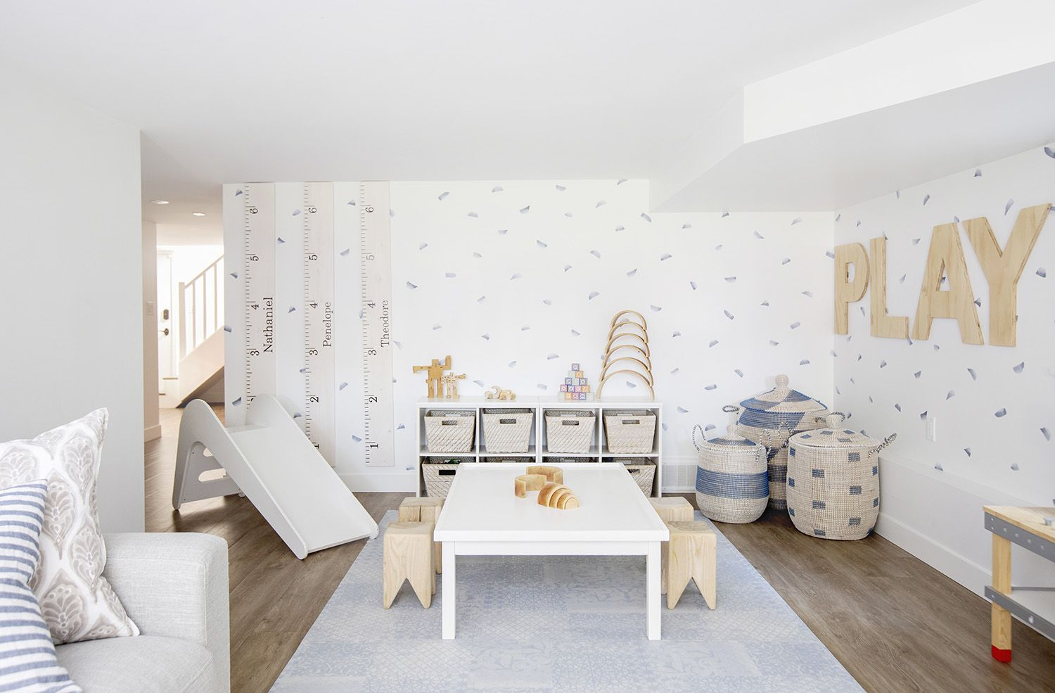 Fresh + Modern White And Blue Basement Playroom | Kid's Playroom