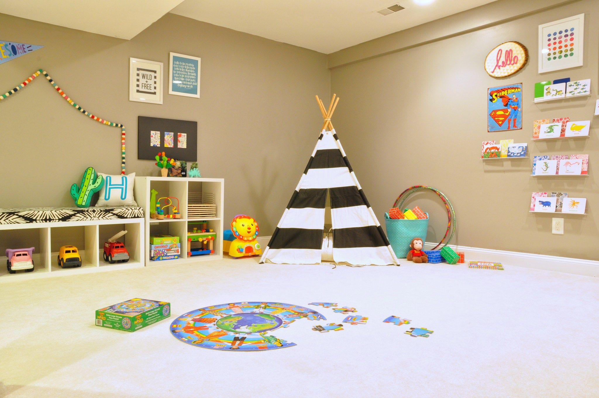 Before And After: Our Basement Playroom + Tv Room Reveal | Holly