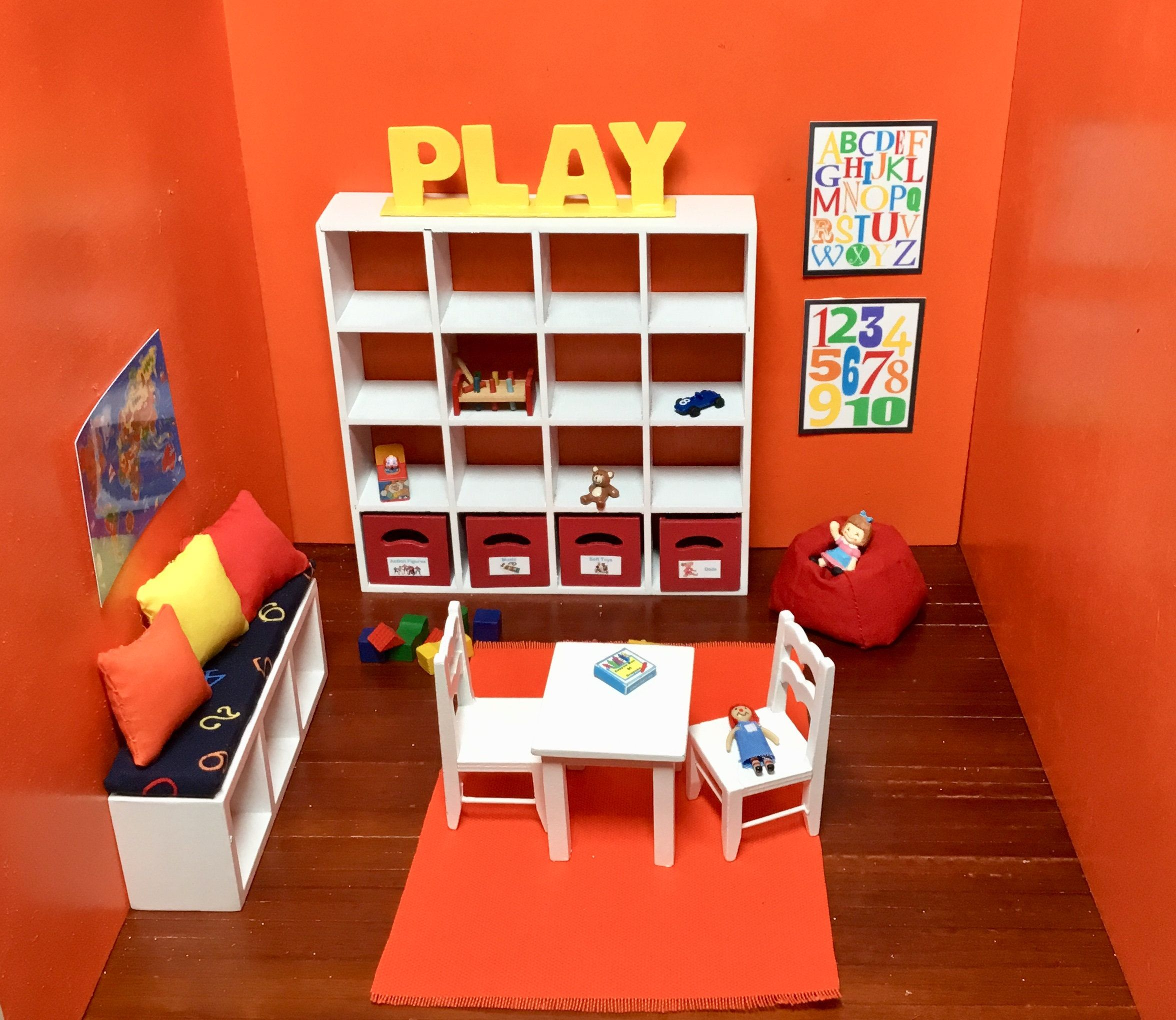 Dollhouse Miniature Children's Playroom, Table & Chairs