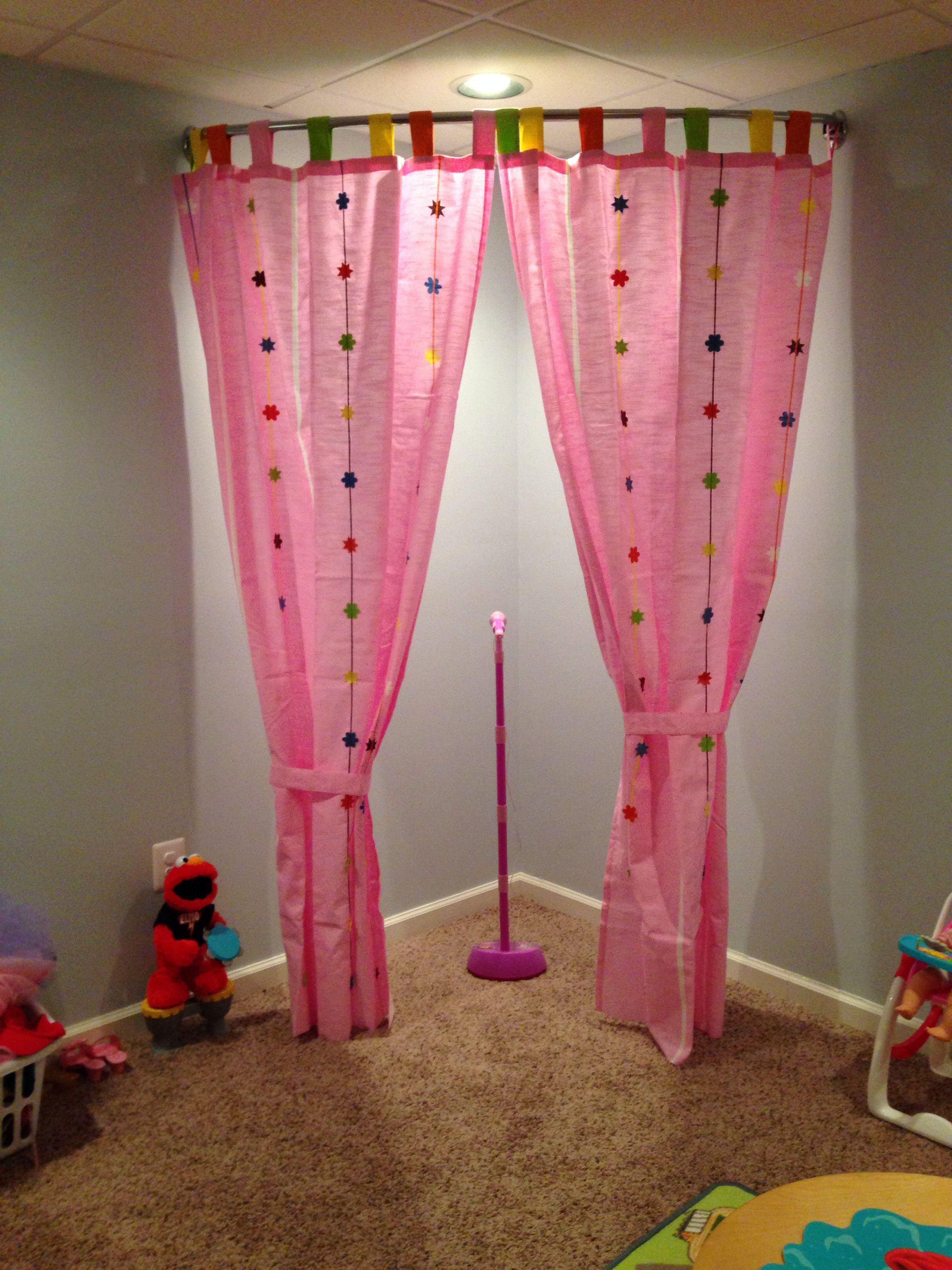 Here's A Playroom Stage Idea I Used A Curved Shower Curtain