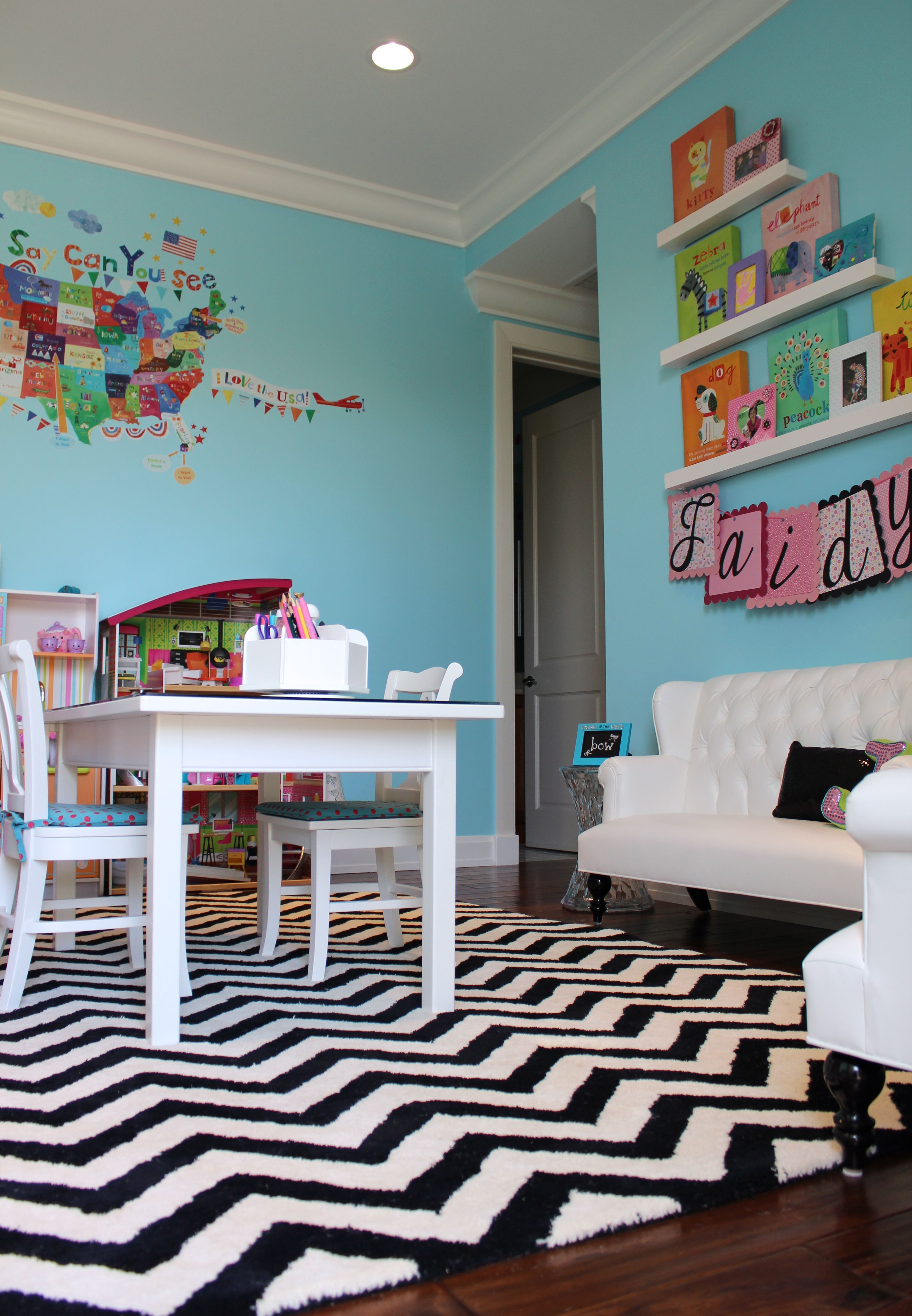 My Daughter's Contemporary Playroom Tags: Turquoise, Black