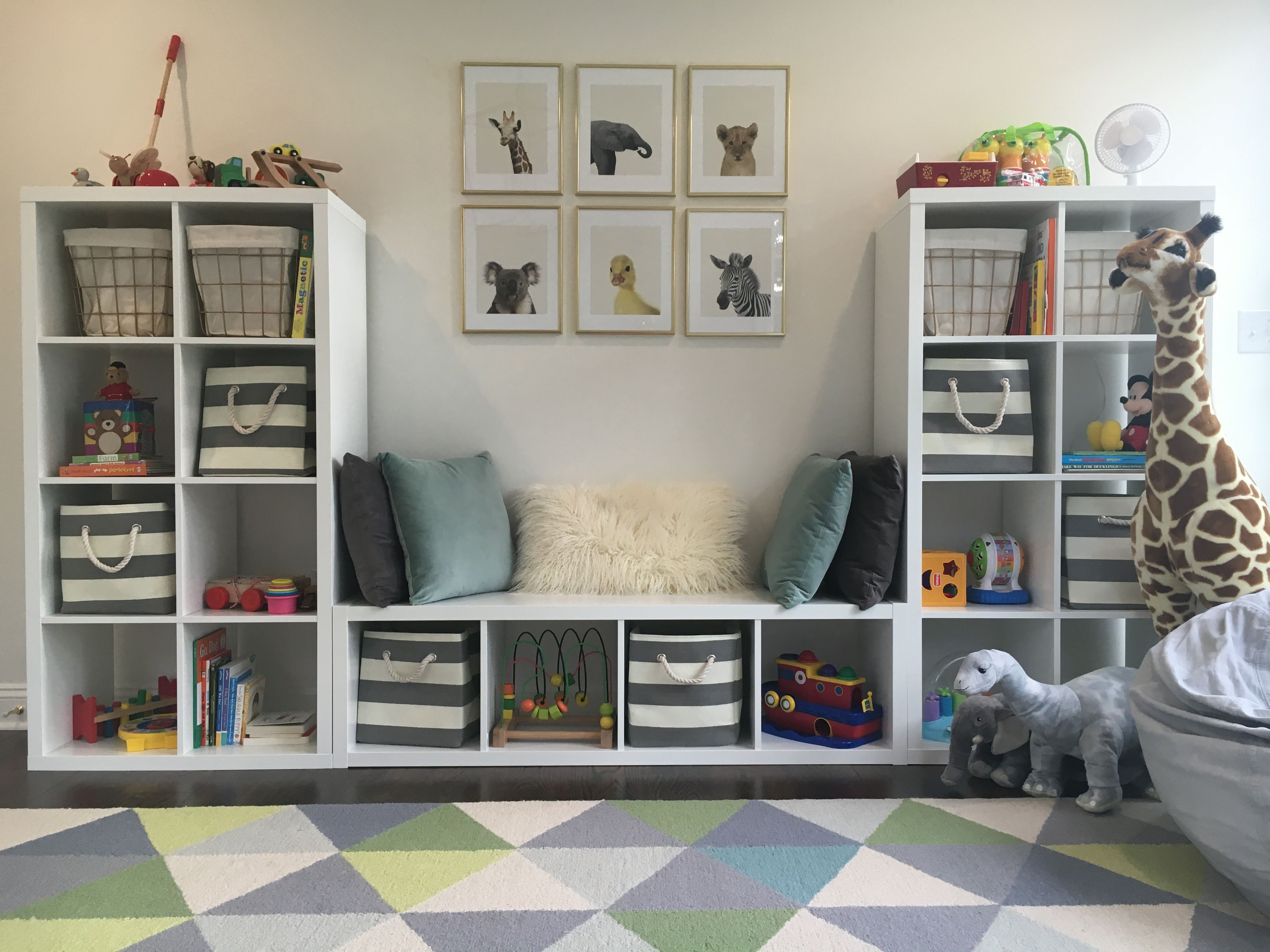Playroom Toddler Room Baby Animals Blue Gray White Gold