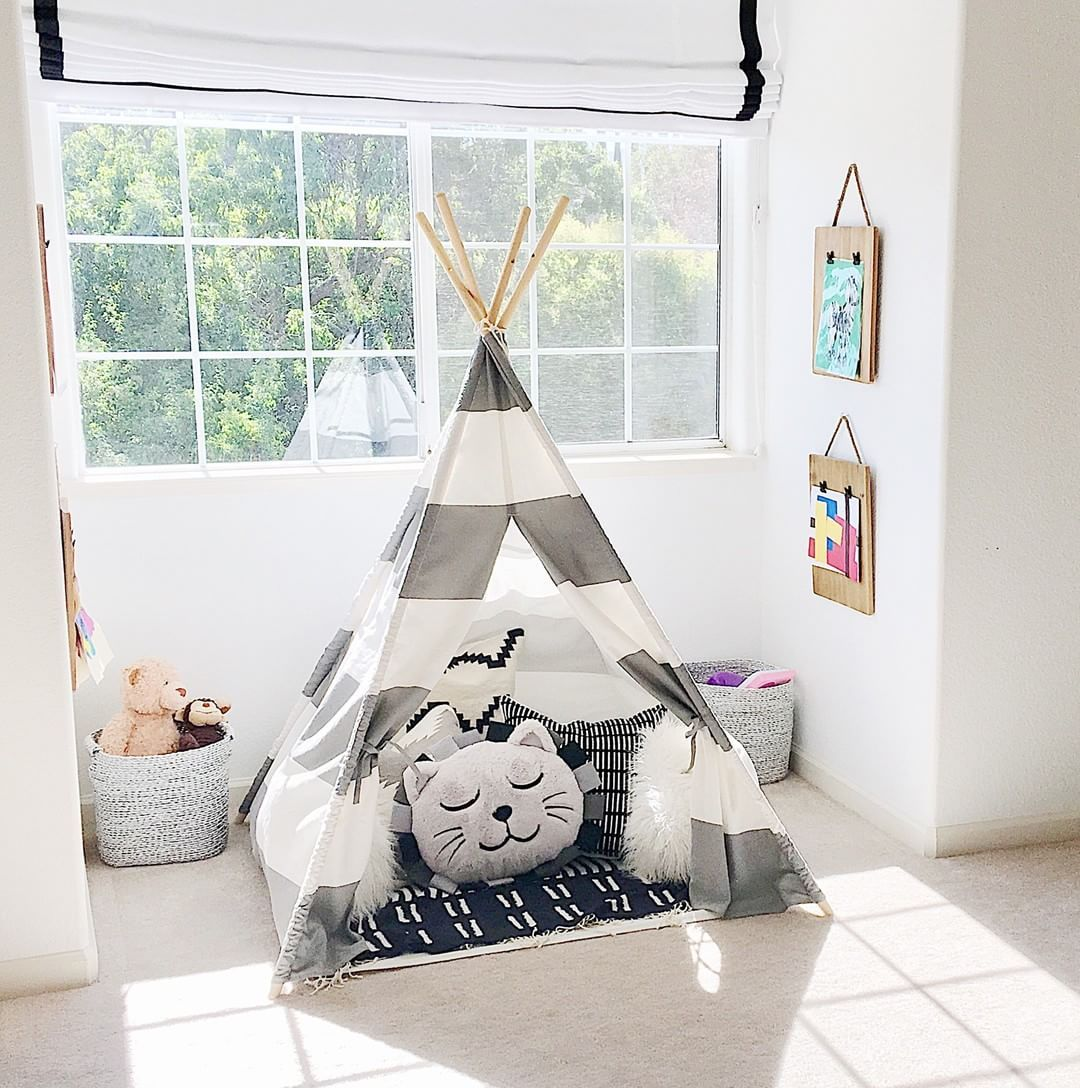 Black Gray And White Playroom :: Teepee In Playroom