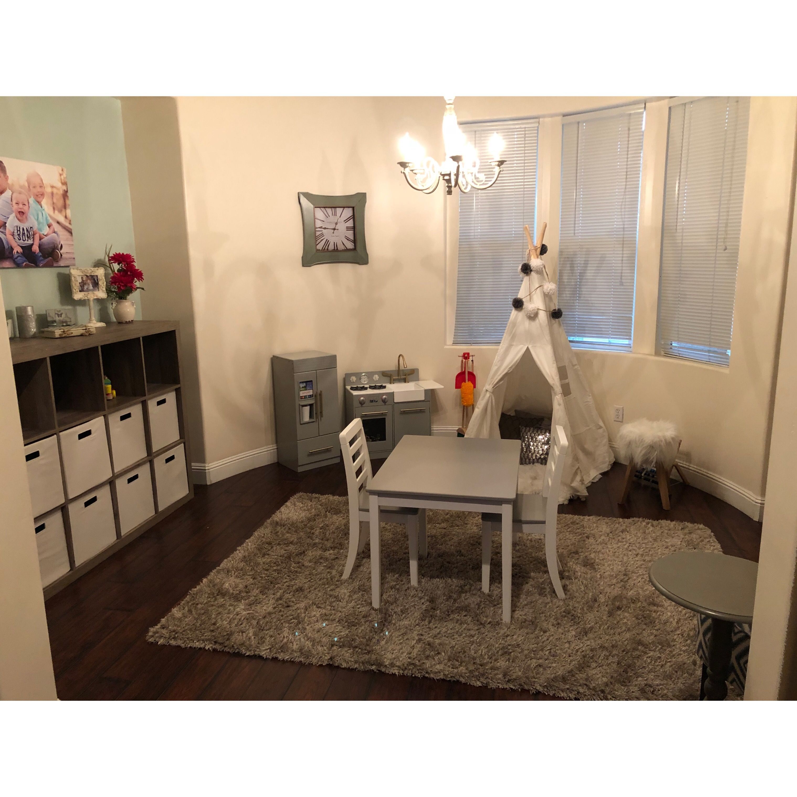 Kids Play Area, Teepee, Gray And White, Playroom, Cube