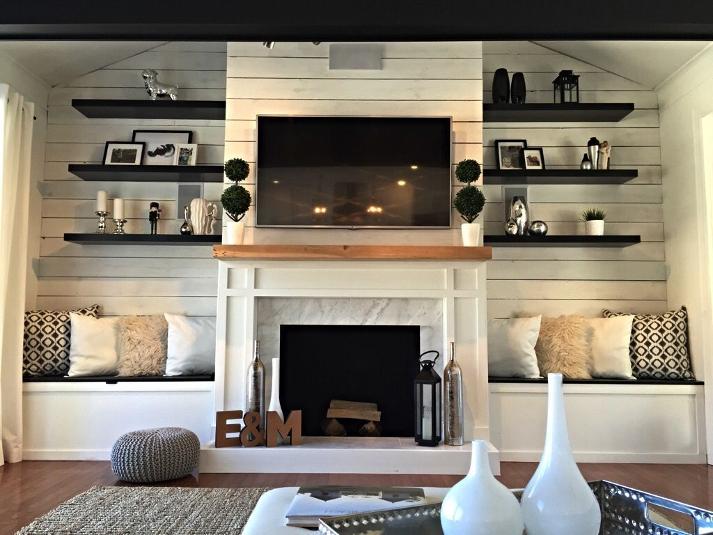 Love This Idea For Playroom Fireplace - Bench Seating Can Be