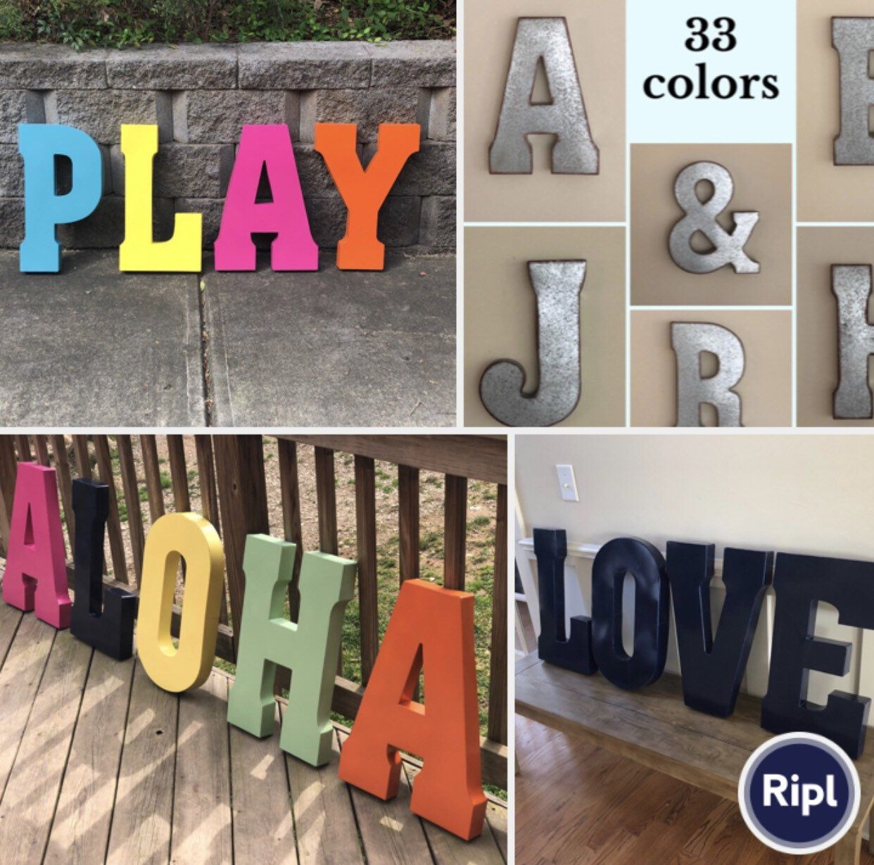 Extra Large Metal Letters/pick Color/word Play/playroom