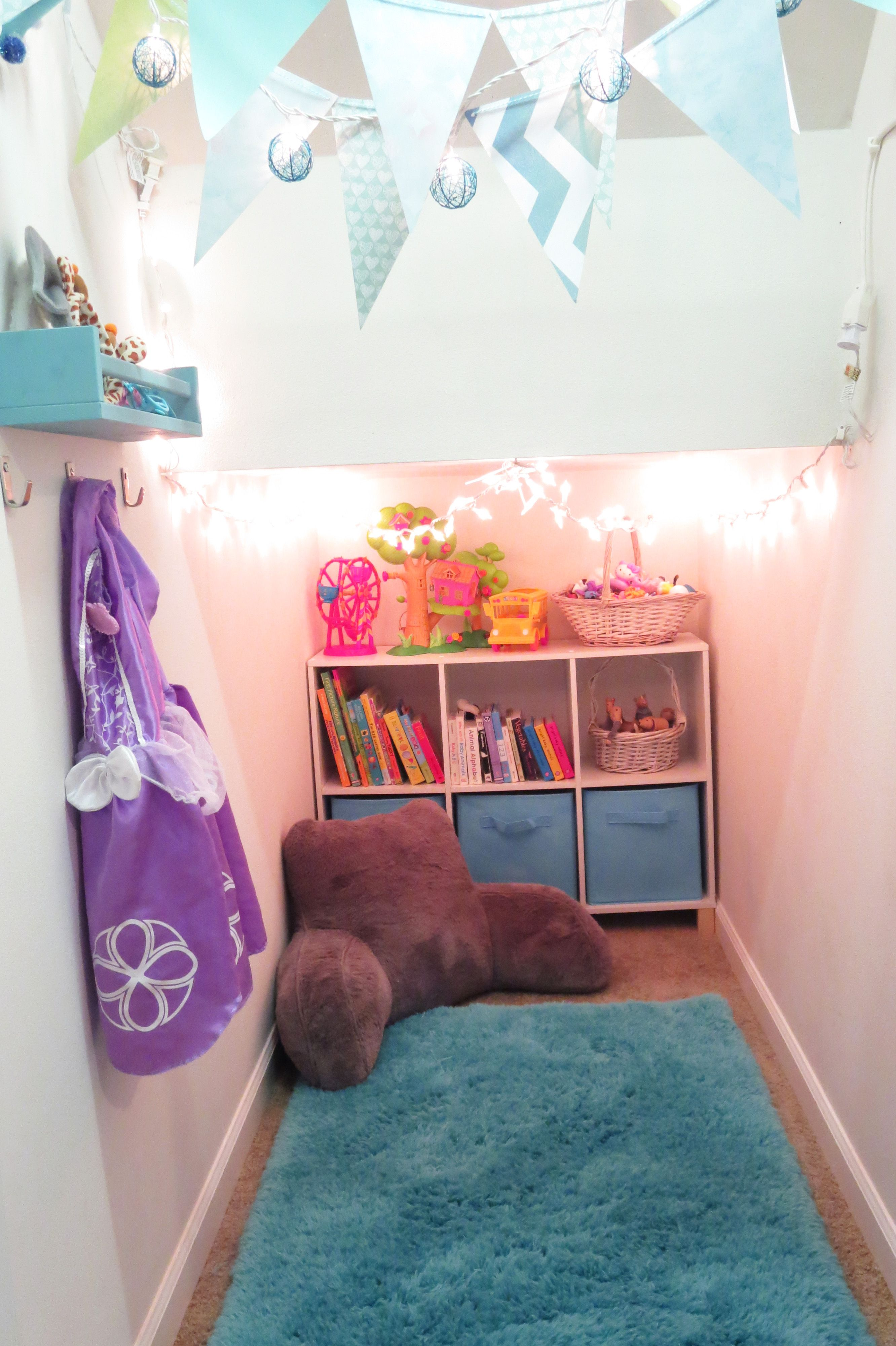 Playroom In A Closet Under The Stairs Twinkle Lights, Bue/turquoise