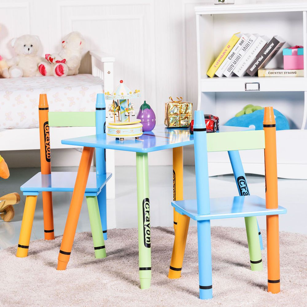 Table And Chairs 3-piece Crayon Themed For Kid's Activity Playroom