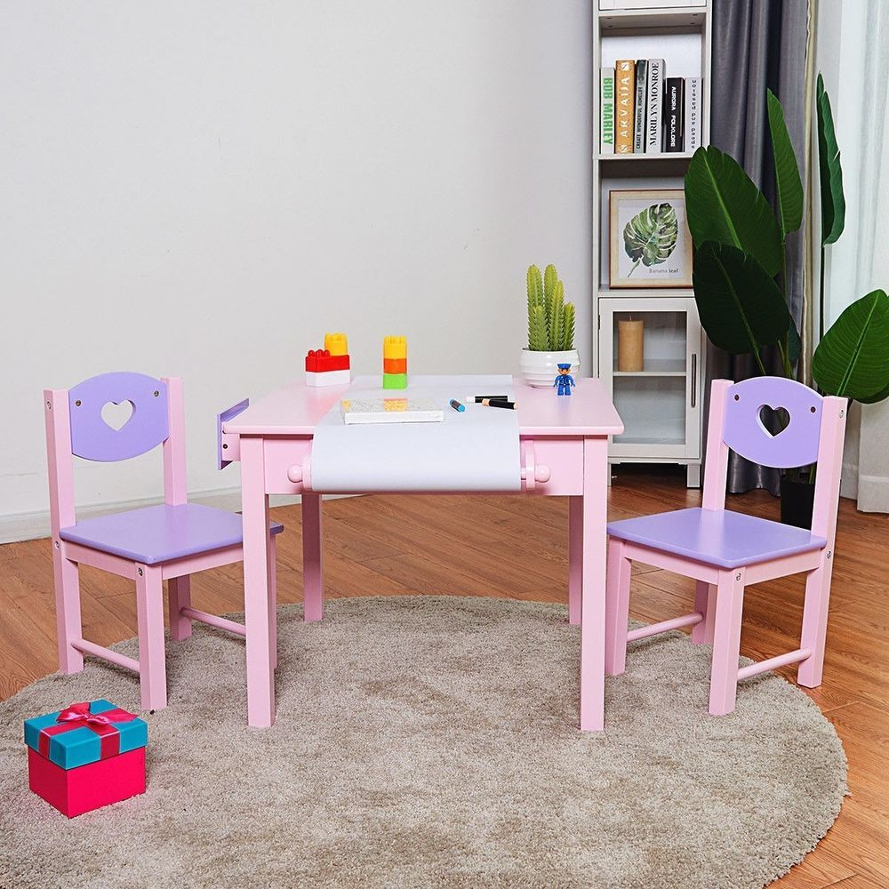 Kids Art Wood Table And Chair Set Classroom Playroom Activity Study