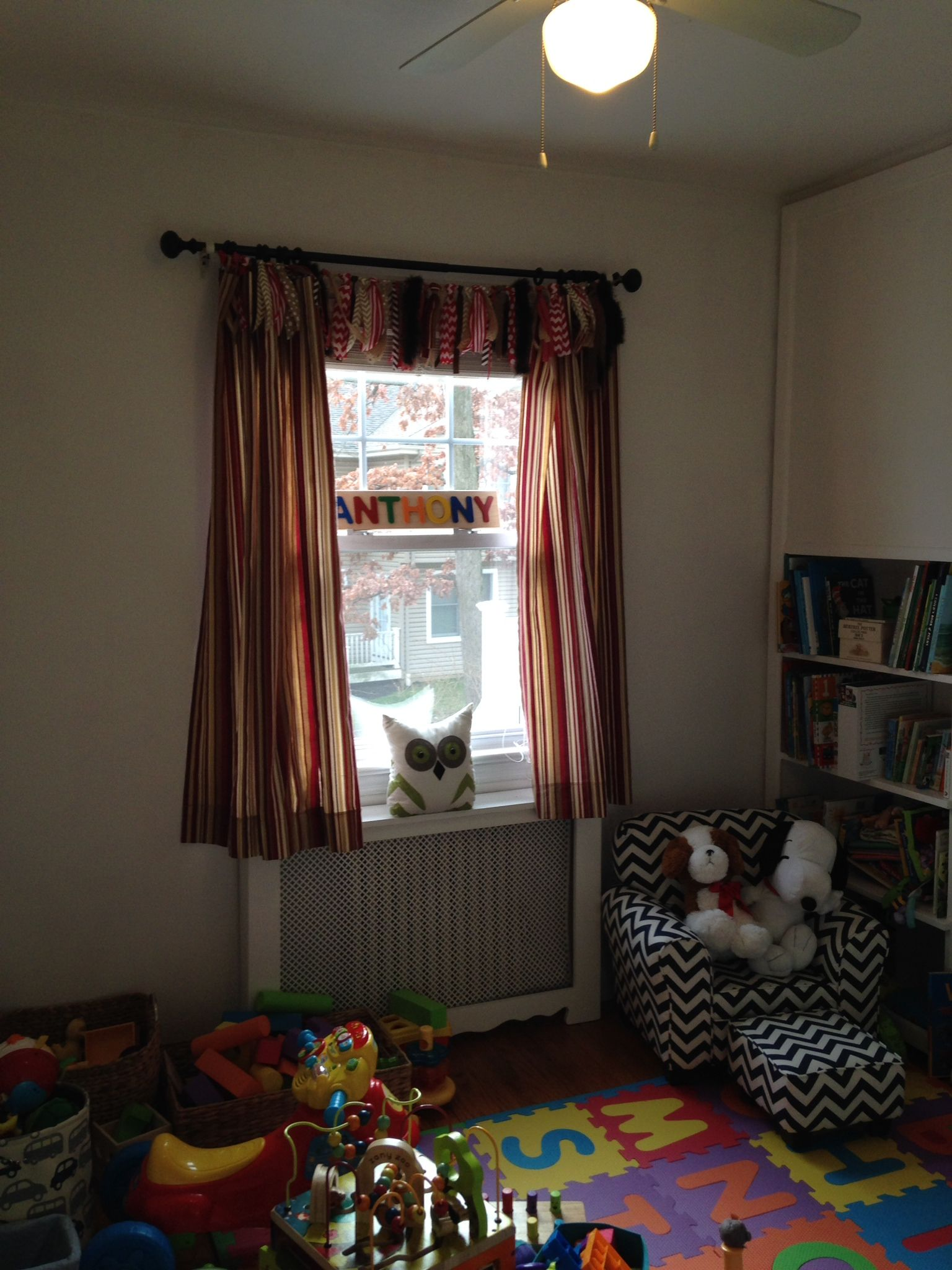 Curtains For Playroom Made From Runners And High Chair