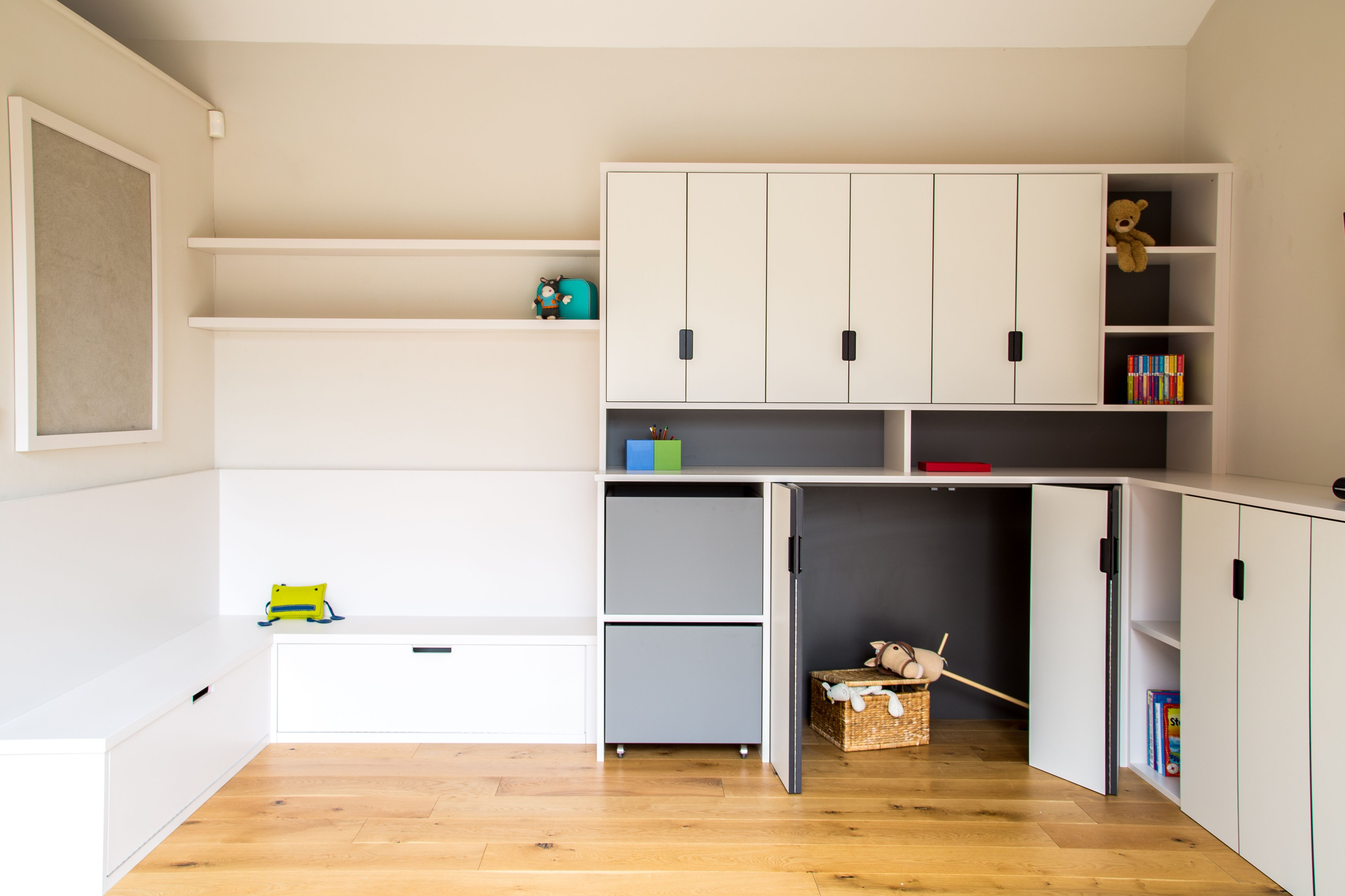 Bespoke Kids Playroom, With Toy Boxes, Open Shelving