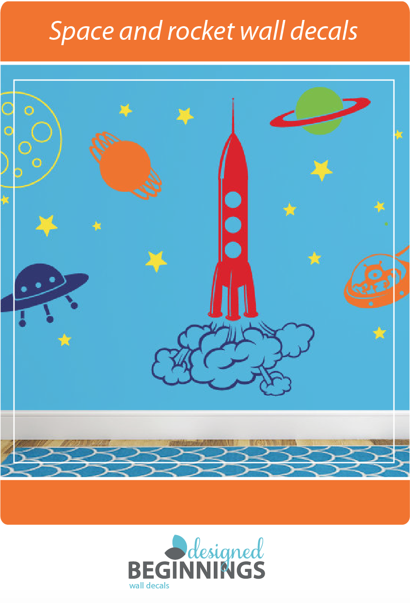 Outer Space Wall Decal, Playroom Wall Decal, Space Wall