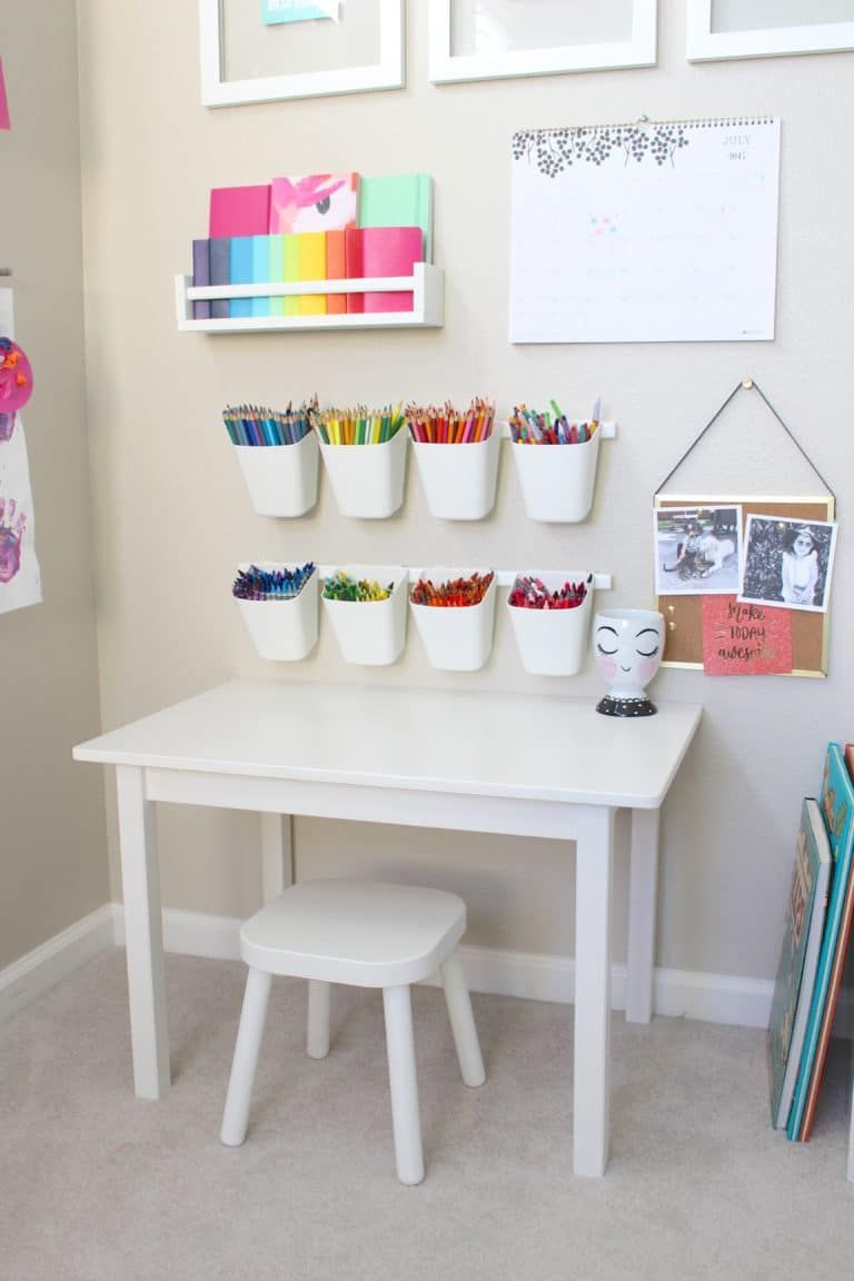 This Playroom Craft Corner Is So Great! It's Simple + Functional +