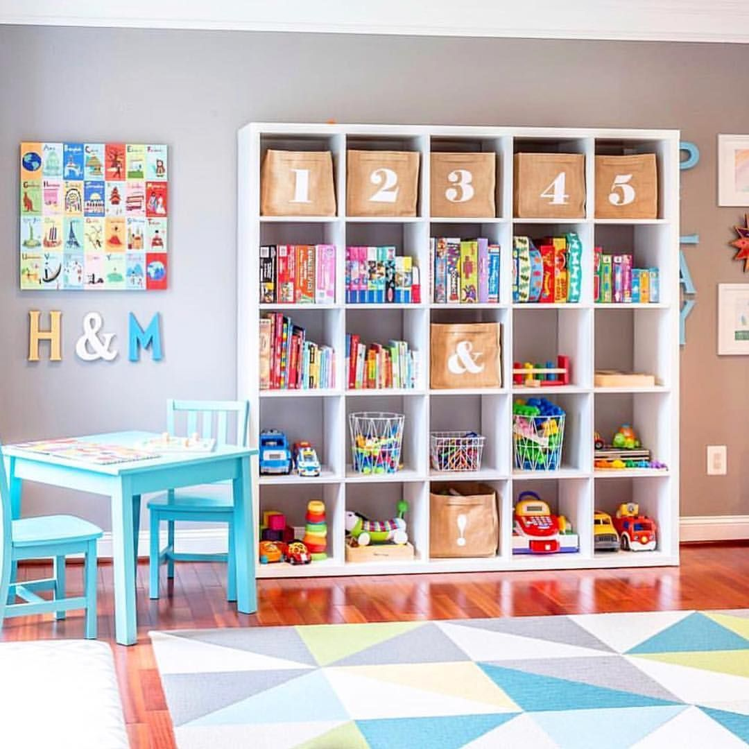 Playroom Goals! A Simple System Of Cubbies And Wire Baskets