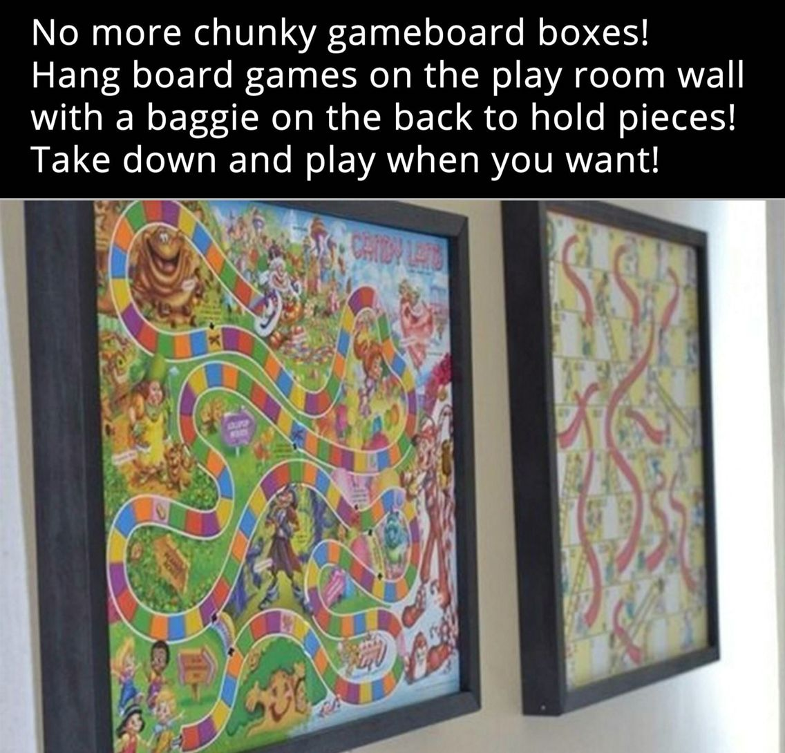 Hang Game Boards As Decoration In A Playroom With Game