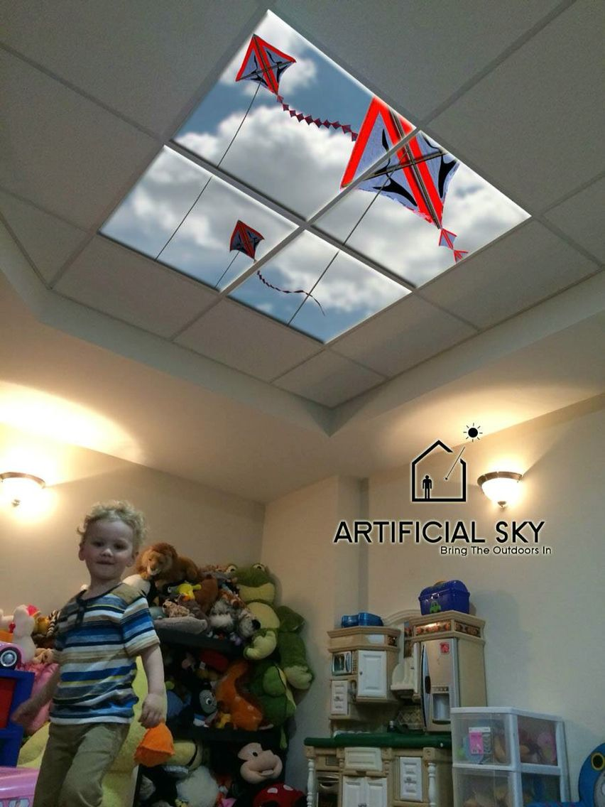 Ceiling In Children's Playroom Uses An Led Skylight To
