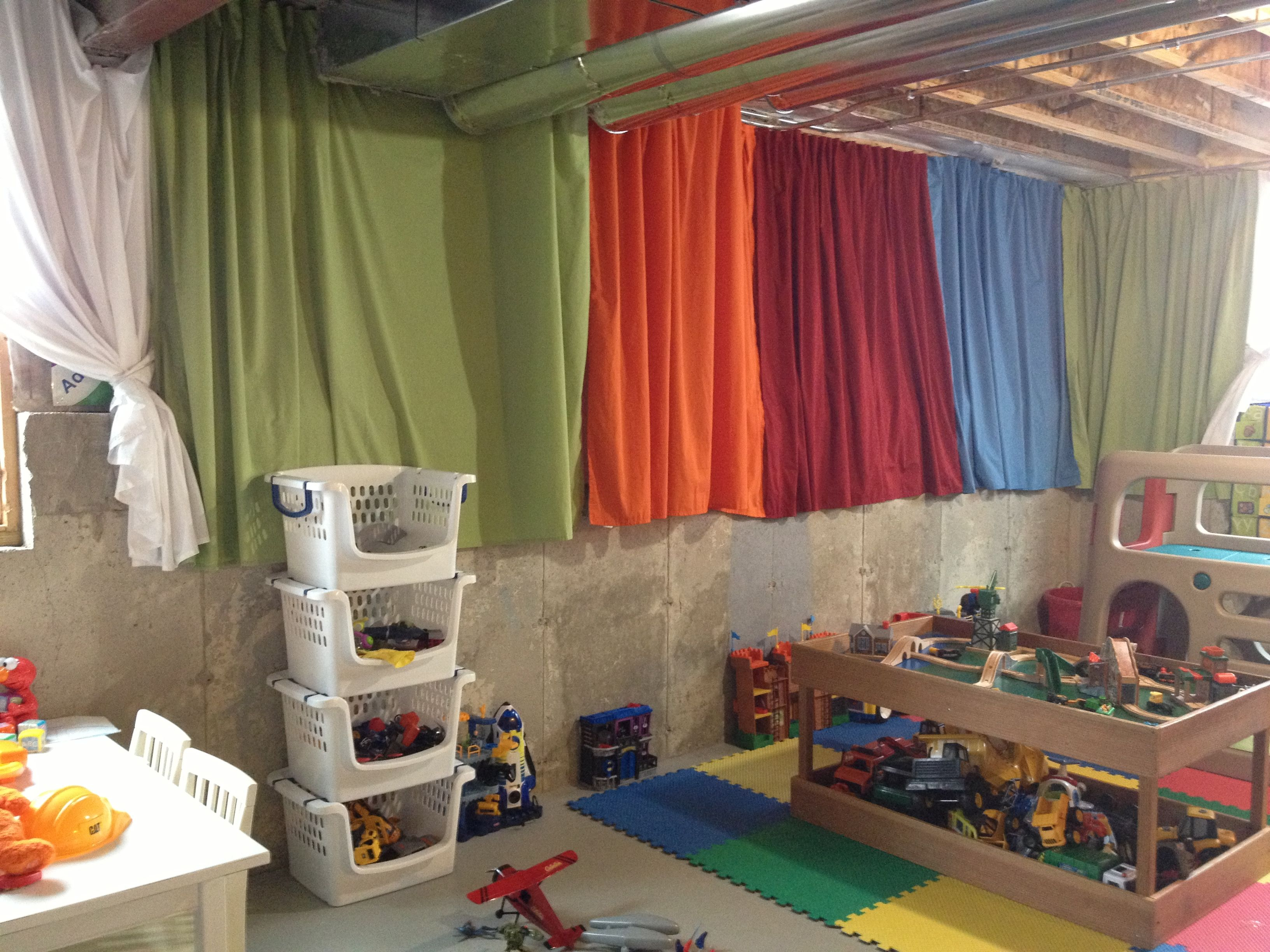 Brighten Up An Unfinished Basement Playroom With $4 Twin