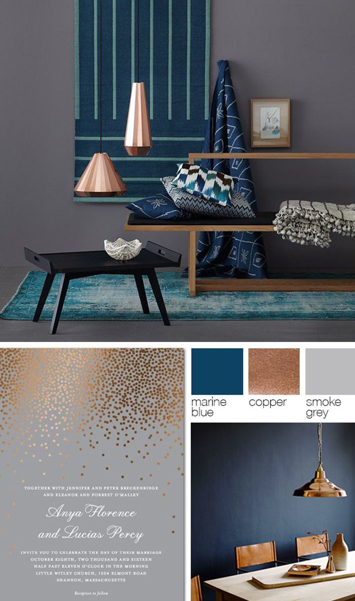 Copper, Grey, And Blue Color Palette | Study/bed/playroom In 2019