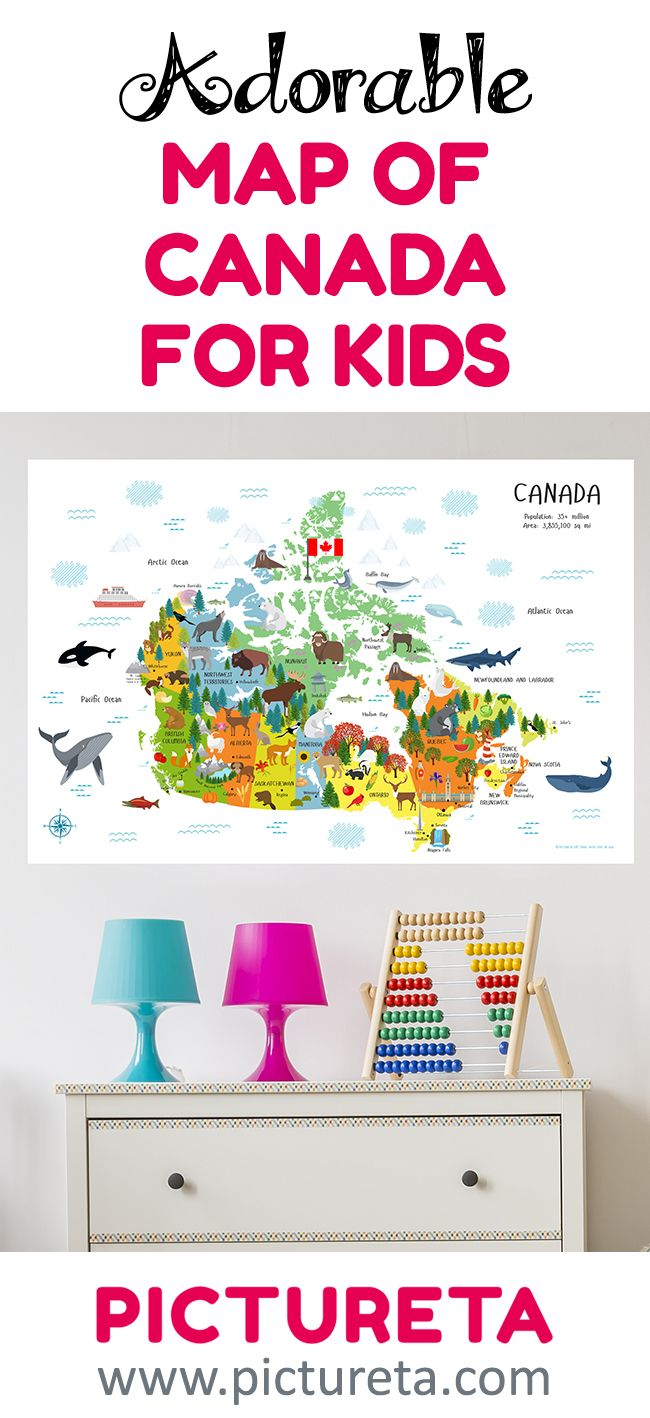 Map Of Canada For Children Poster - Playroom Decor – Cute