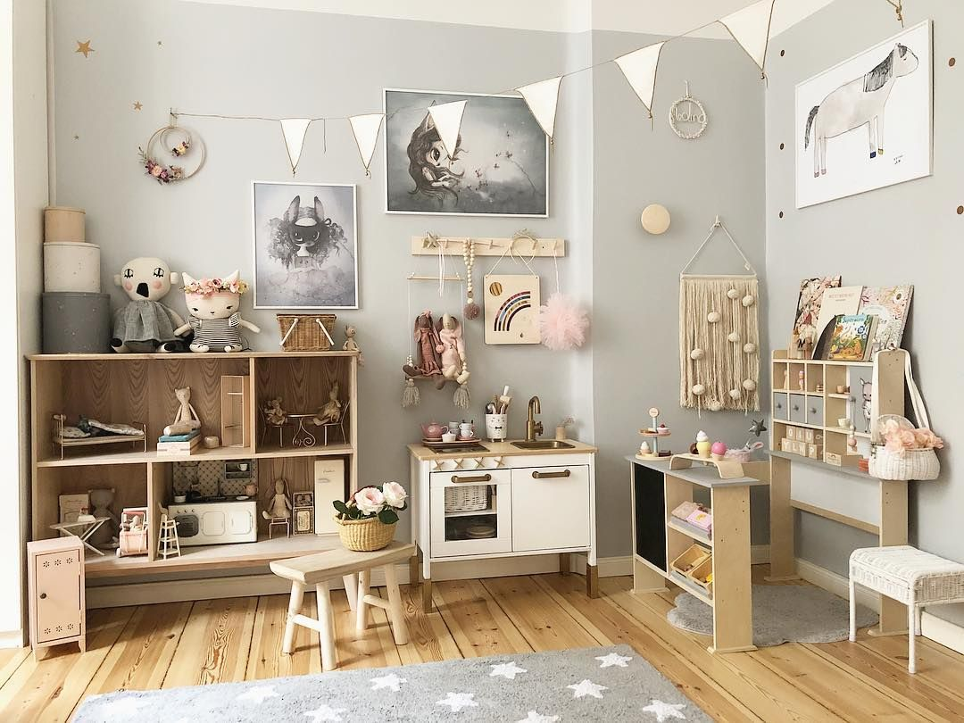 Neutral Kids Playroom Inspiration With Natural Wood, Grey