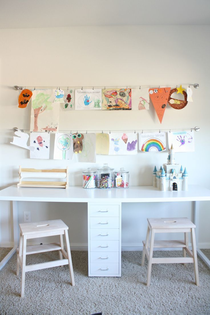 Playroom Makeover With Built Ins | Kids Art Table, Kids Art