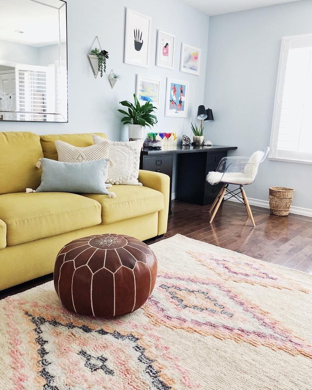 Moroccan Pouf, Shag Rug, Colorful Couch, Playroom, Ghost